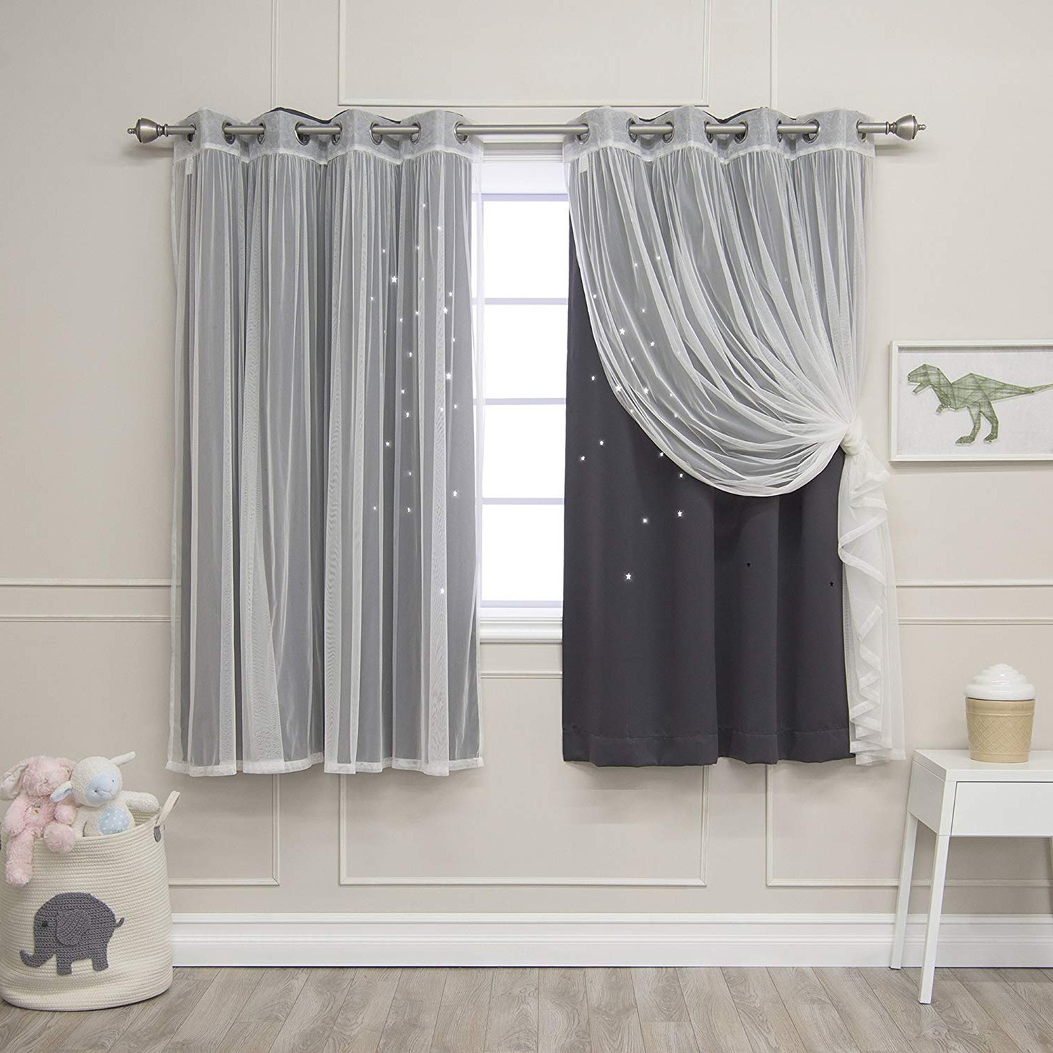 Star Punch Tulle Overlay Blackout Curtain Panel Pairs Pertaining To Well Known Best Home Fashion Umixm Tulle & Star Cut Out Blackout Curtains – Dk (View 9 of 20)