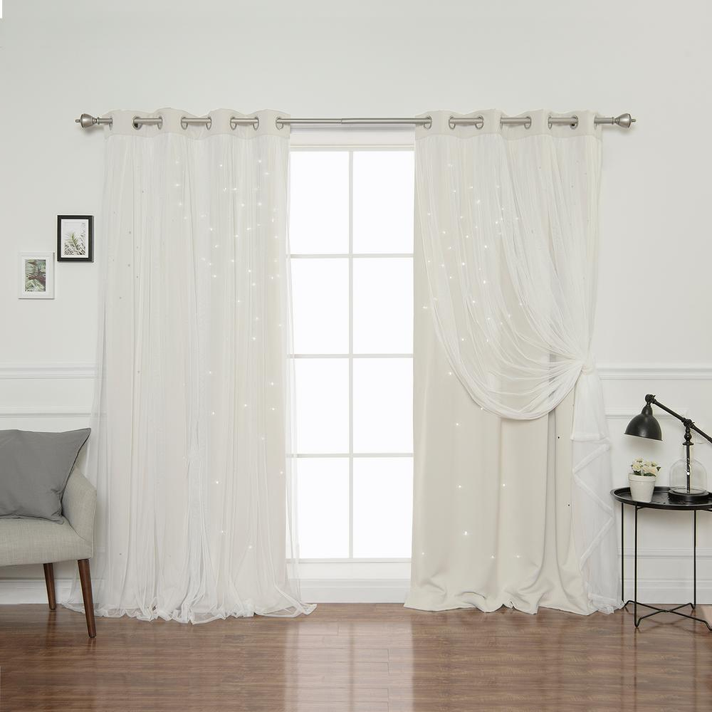 Star Punch Tulle Overlay Blackout Curtain Panel Pairs Regarding Most Recently Released Best Home Fashion 84 In (View 5 of 20)