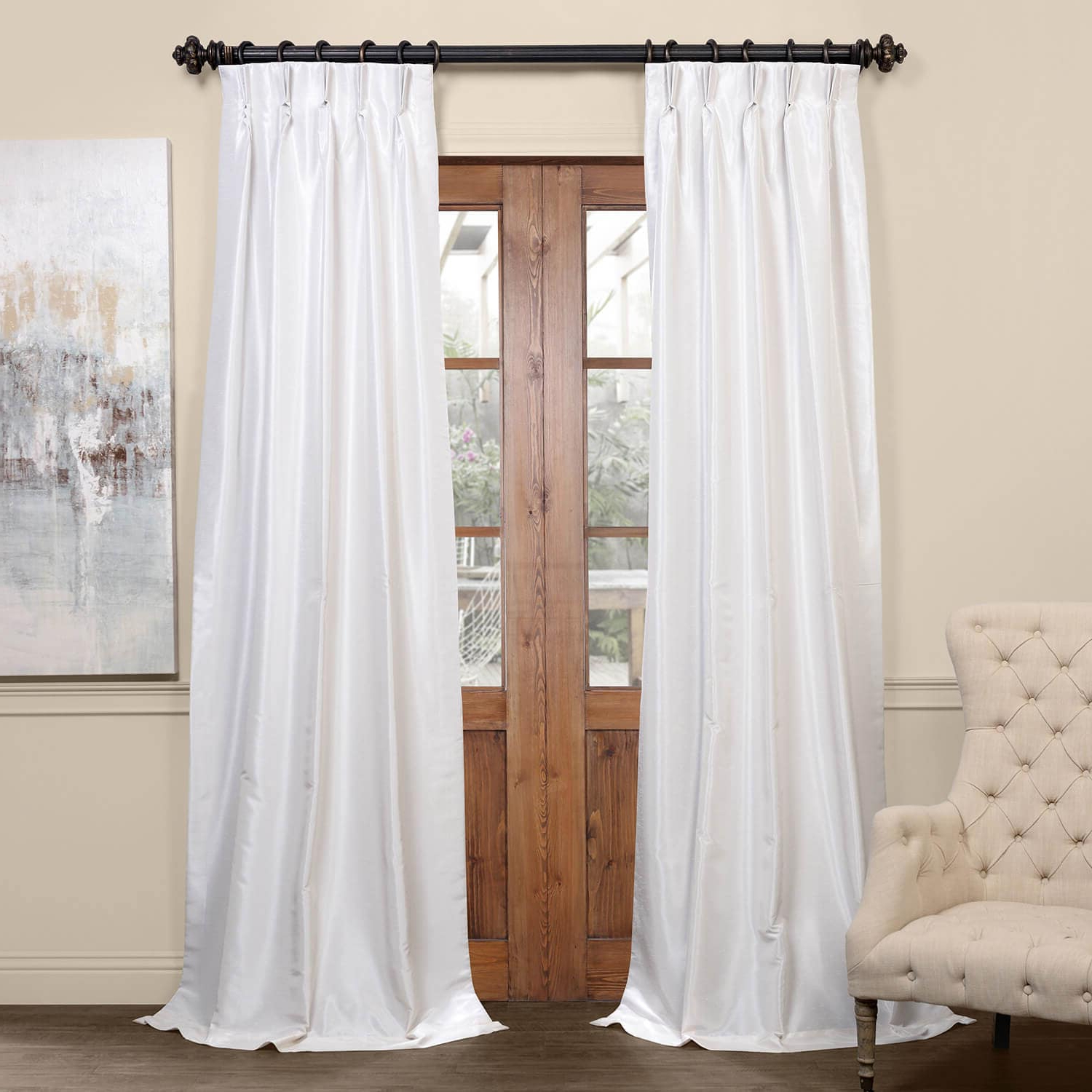 Storm Grey Vintage Faux Textured Dupioni Single Silk Curtain Panels Pertaining To Trendy Off White Blackout Vintage Textured Faux Dupioni Pleated Curtain (View 15 of 20)