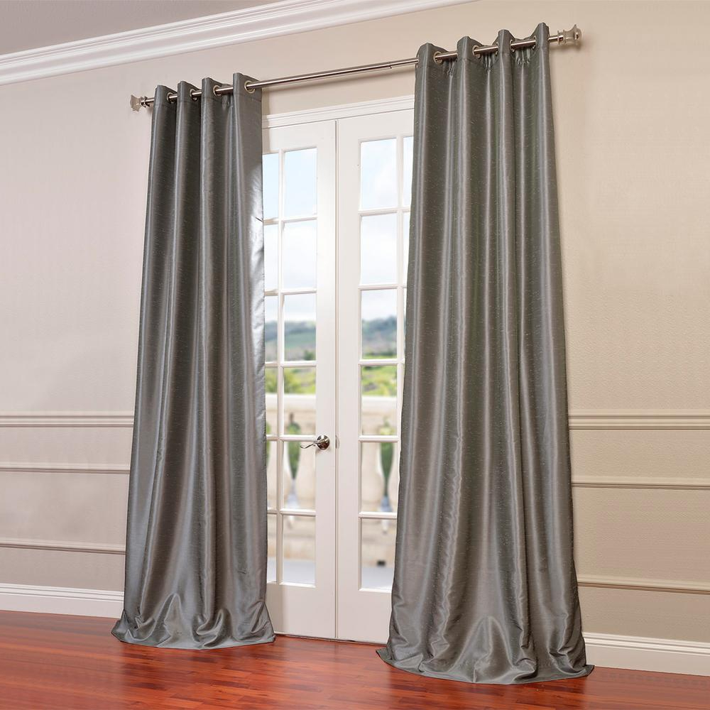 Storm Grey Vintage Faux Textured Dupioni Single Silk Curtain Panels Throughout Famous Exclusive Fabrics & Furnishings Storm Grey Gray Grommet Blackout Vintage  Textured Faux Dupioni Silk Curtain – 50 In. W X 96 In (View 15 of 20)