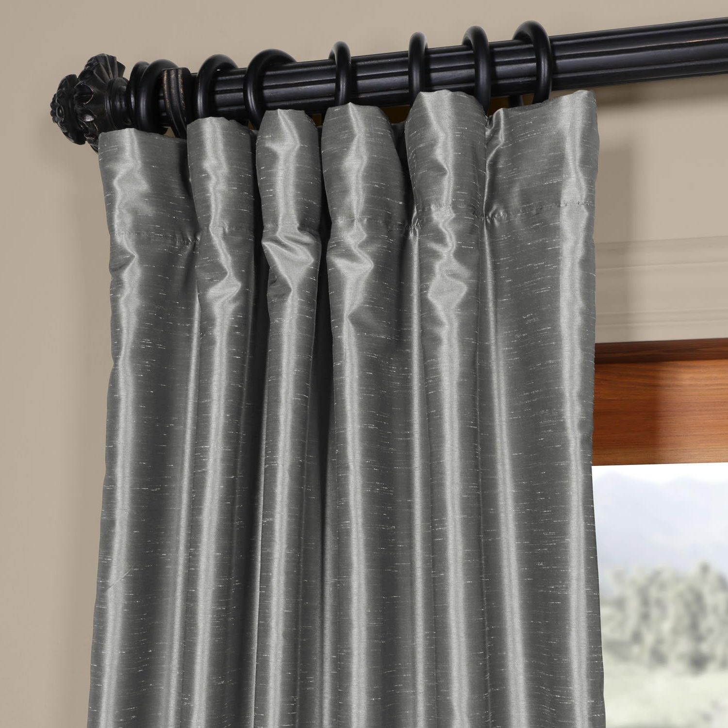 Storm Grey Vintage Faux Textured Dupioni Single Silk Curtain Panels With Best And Newest Exclusive Fabrics Storm Grey Vintage Faux Textured Dupioni Single Silk Curtain Panel (View 7 of 20)