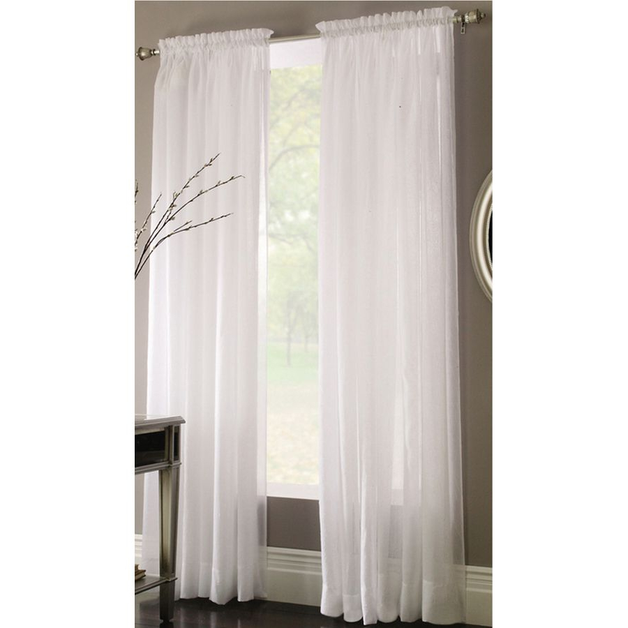 Style Selections Chloe 84 In White Polyester Rod Pocket Regarding Famous Light Filtering Sheer Single Curtain Panels (View 10 of 20)