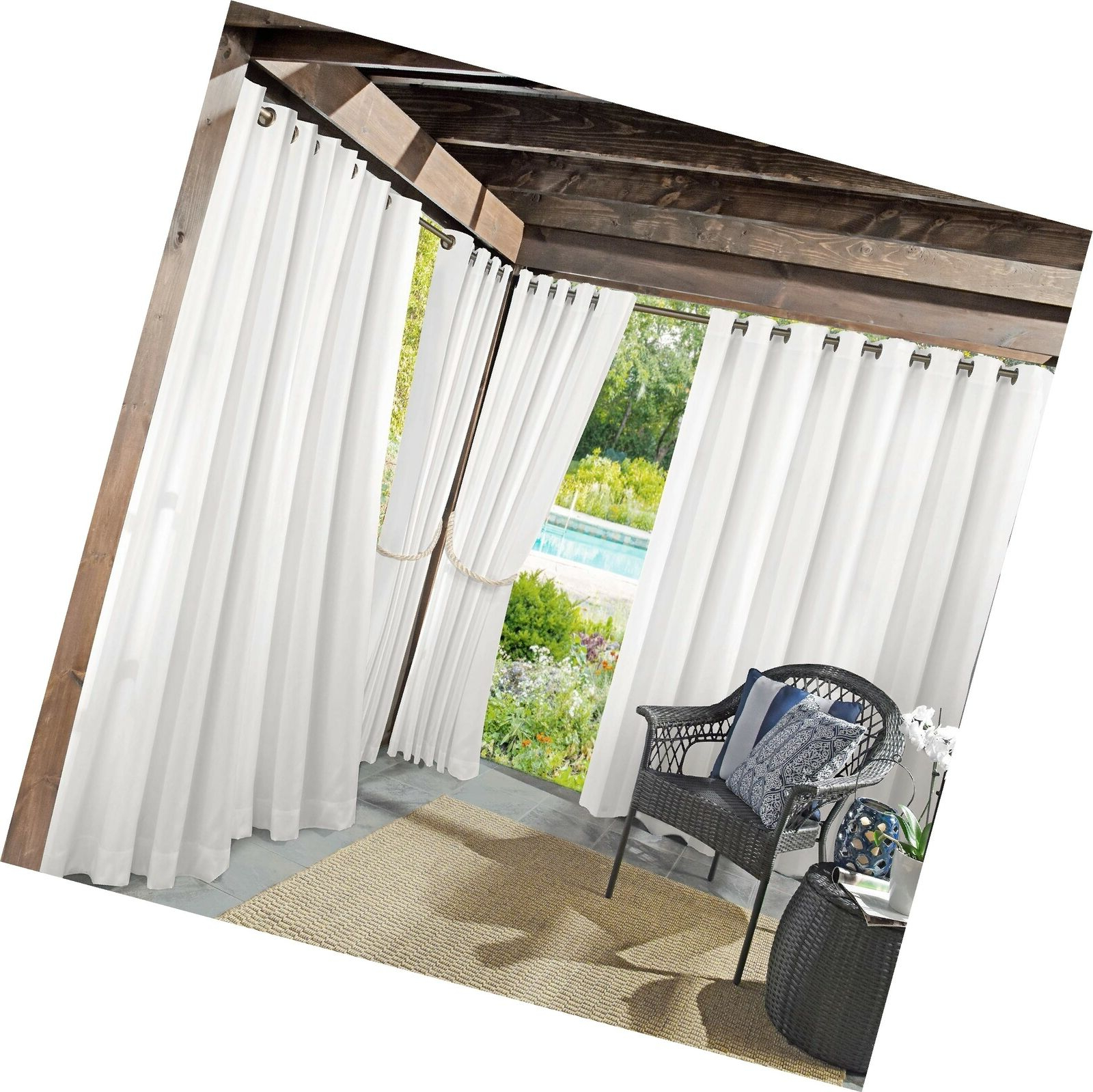 "Sun Zero Beacon Woven Indoor/outdoor Uv Protectant Grommet Curtain Panel 52"" Inside Most Up To Date Valencia Cabana Stripe Indoor/outdoor Curtain Panels (View 16 of 20)"
