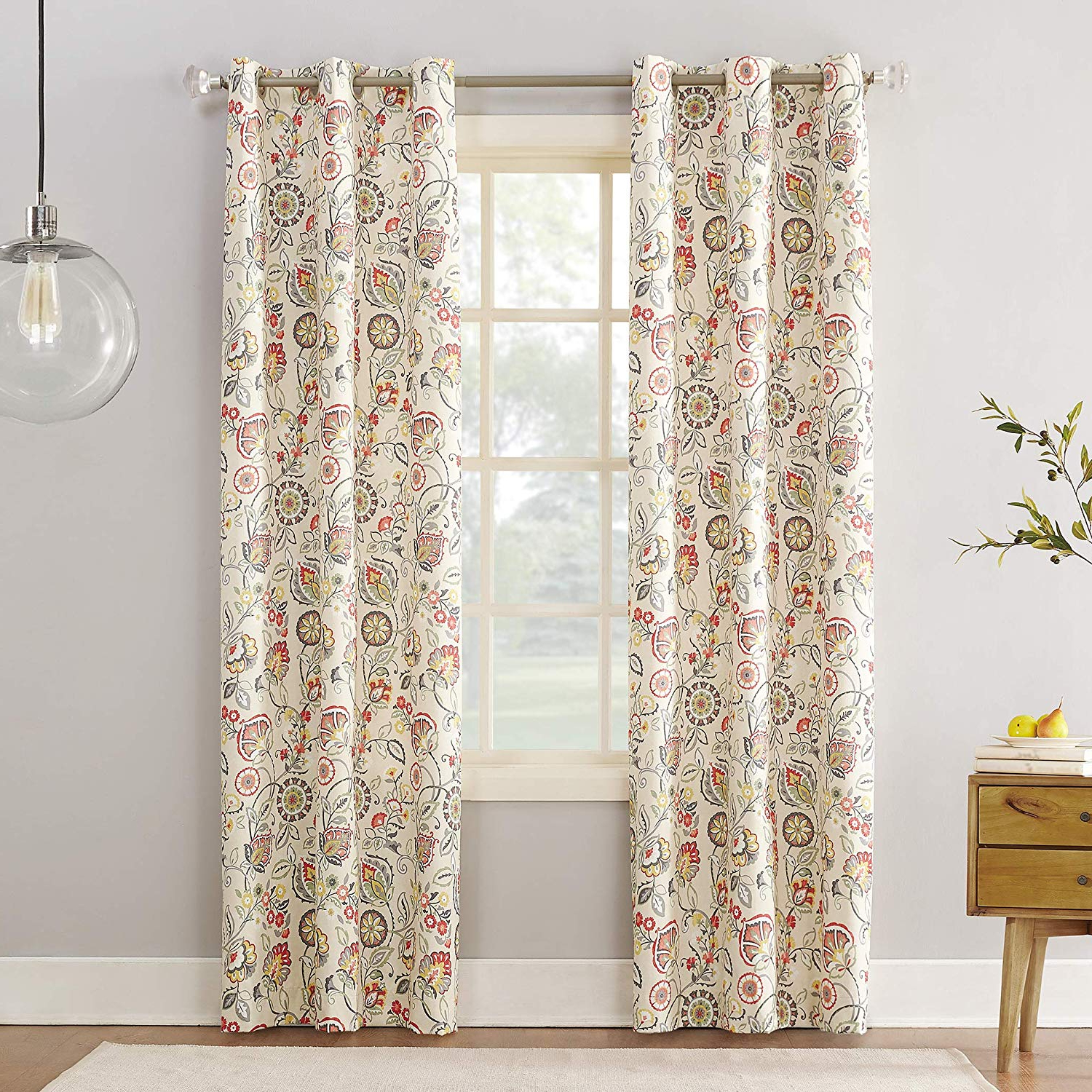"Sun Zero Cooper Botanical Print Thermal Insulated Room Darkening Grommet Curtain Panel 40"" X 84"" Linen Inside Current Cooper Textured Thermal Insulated Grommet Curtain Panels (View 10 of 20)"