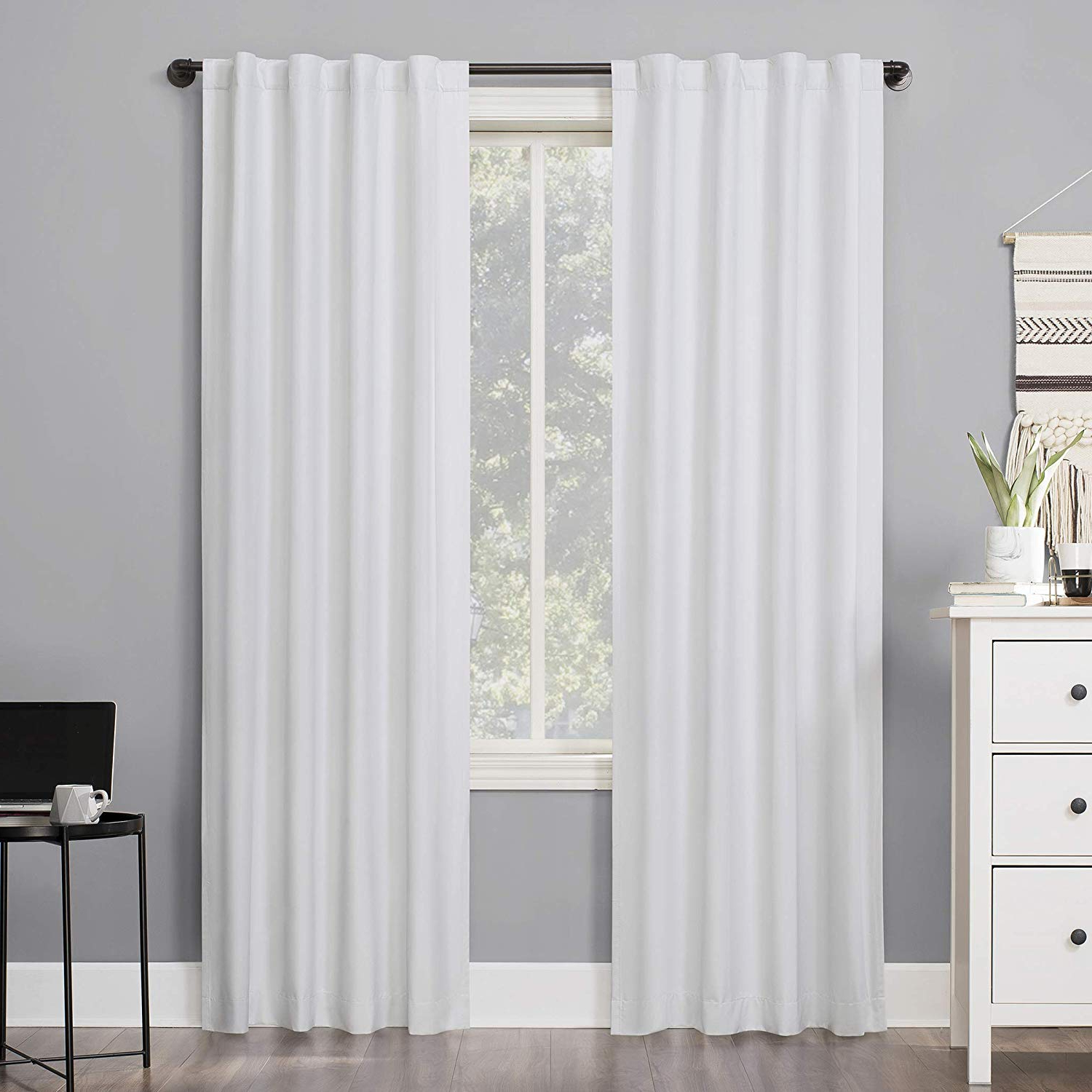 "[%sun Zero Cyrus Thermal 100% Blackout Back Tab Curtain Panel, 40"" X 84"", White For Most Recently Released Cyrus Thermal Blackout Back Tab Curtain Panels