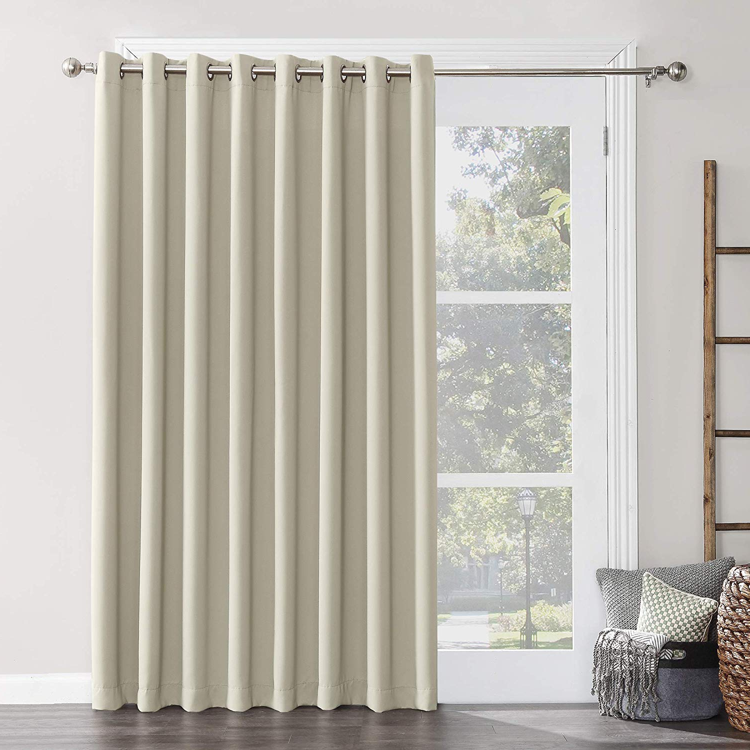 "Sun Zero Easton Extra Wide Blackout Sliding Patio Door Curtain Panel With Pull Wand, 100"" X 84"", Pearl Pertaining To Most Up To Date Grommet Blackout Patio Door Window Curtain Panels (View 8 of 20)"