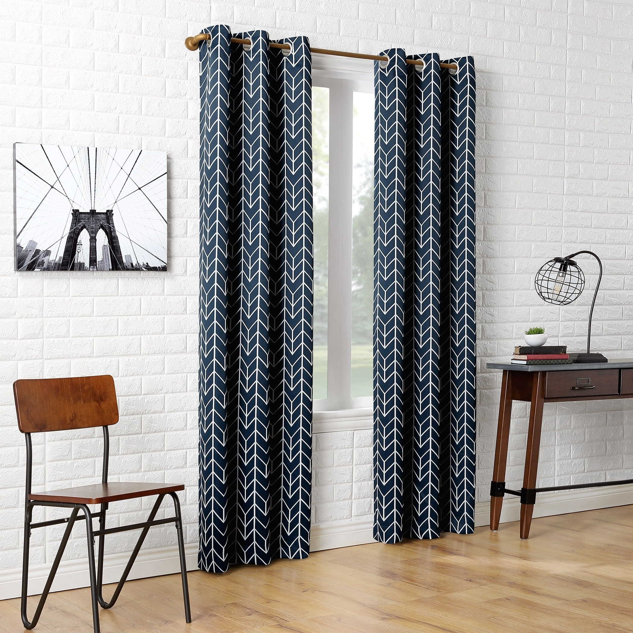 Sun Zero Kenwood Chevron Blackout Grommet Curtain Panel With Best And Newest Chevron Blackout Grommet Curtain Panels (View 16 of 20)