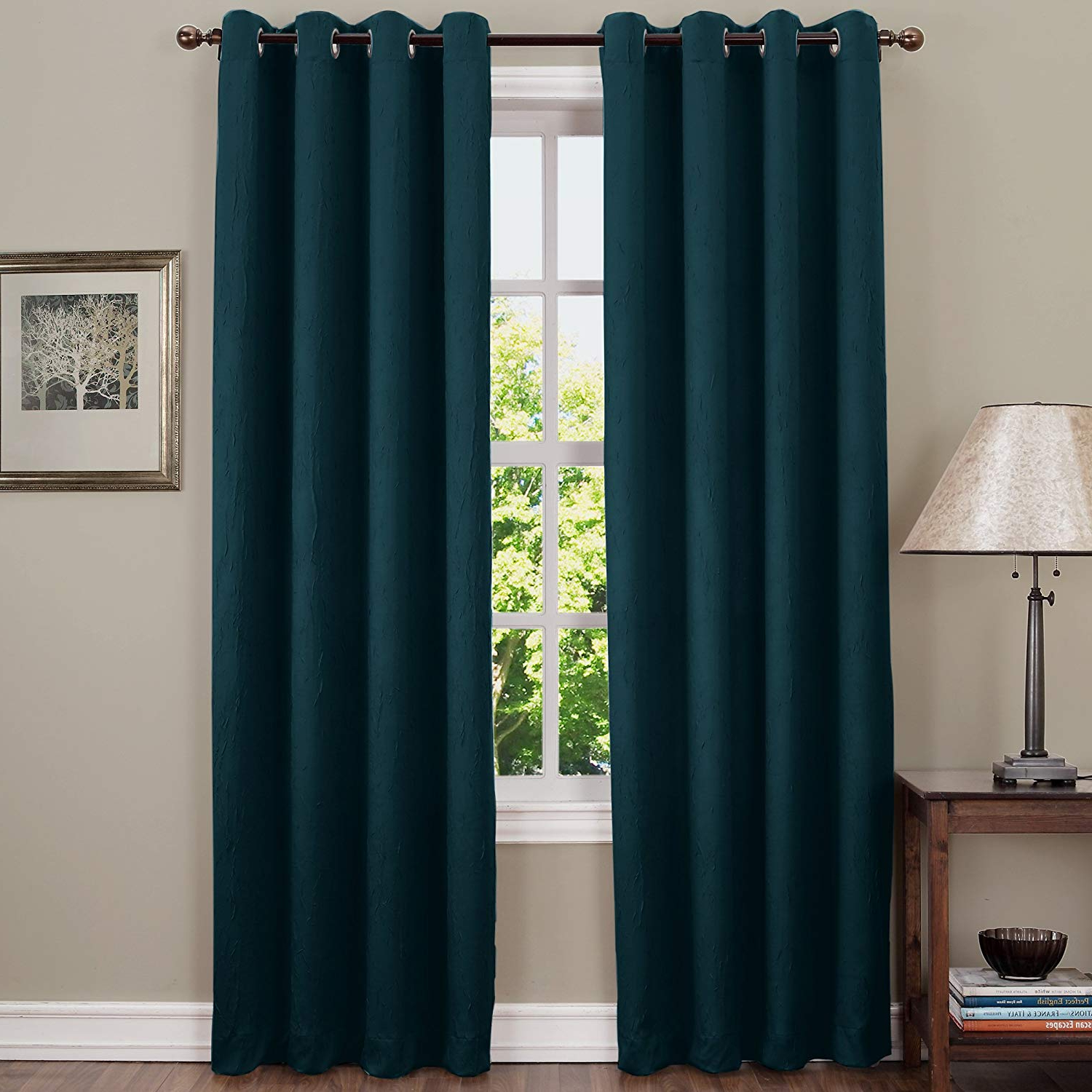 """Sun Zero Leighton Crushed Texture Energy Efficient Grommet Curtain Panel,  50"""" X 84"""", Teal Inside Most Current Duran Thermal Insulated Blackout Grommet Curtain Panels (View 19 of 21)"""