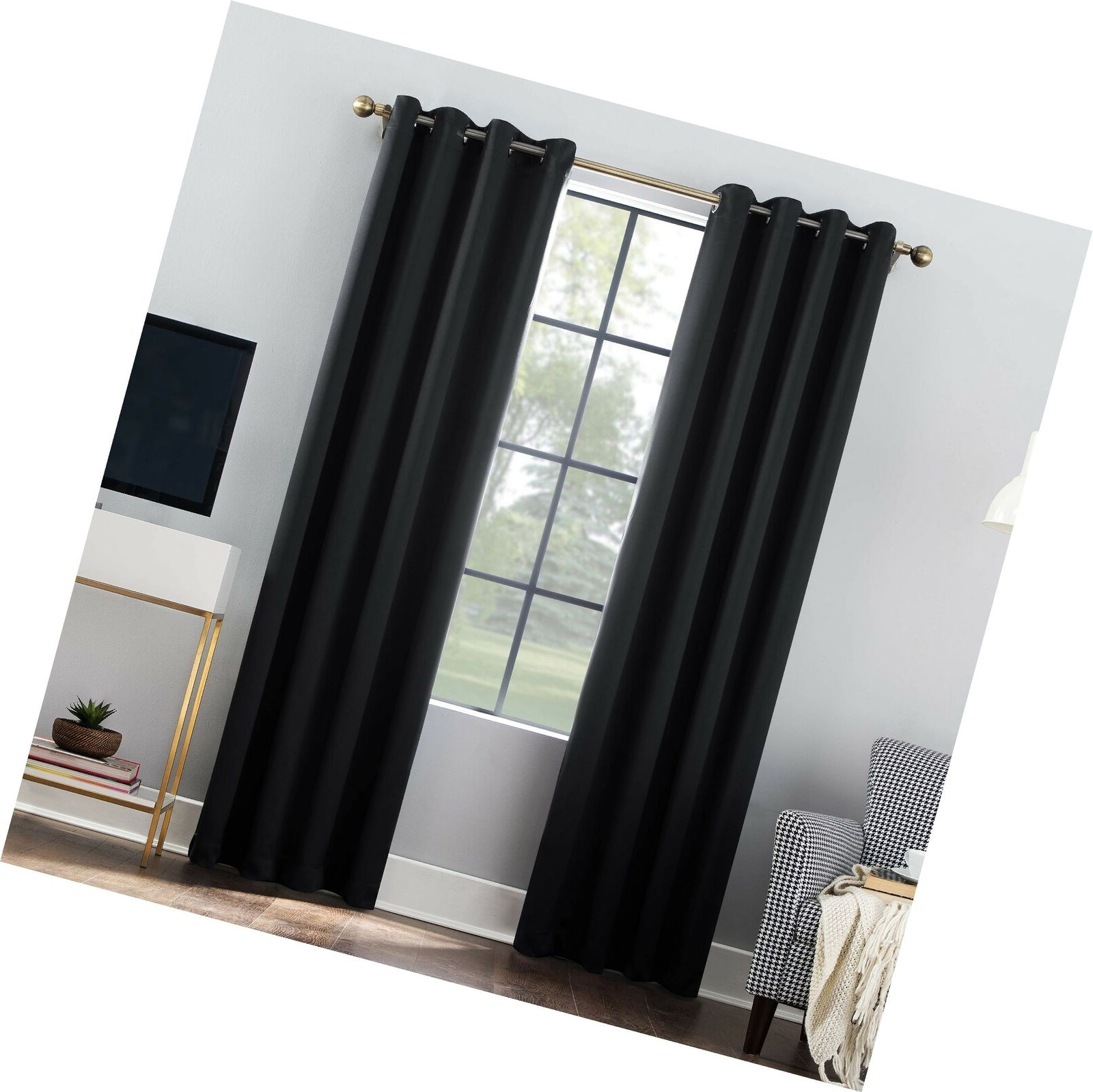 "[%sun Zero Oslo Theater Grade Extreme 100% Blackout Grommet Curtain Panel, 52"" Pertaining To 2021 Riley Kids Bedroom Blackout Grommet Curtain Panels