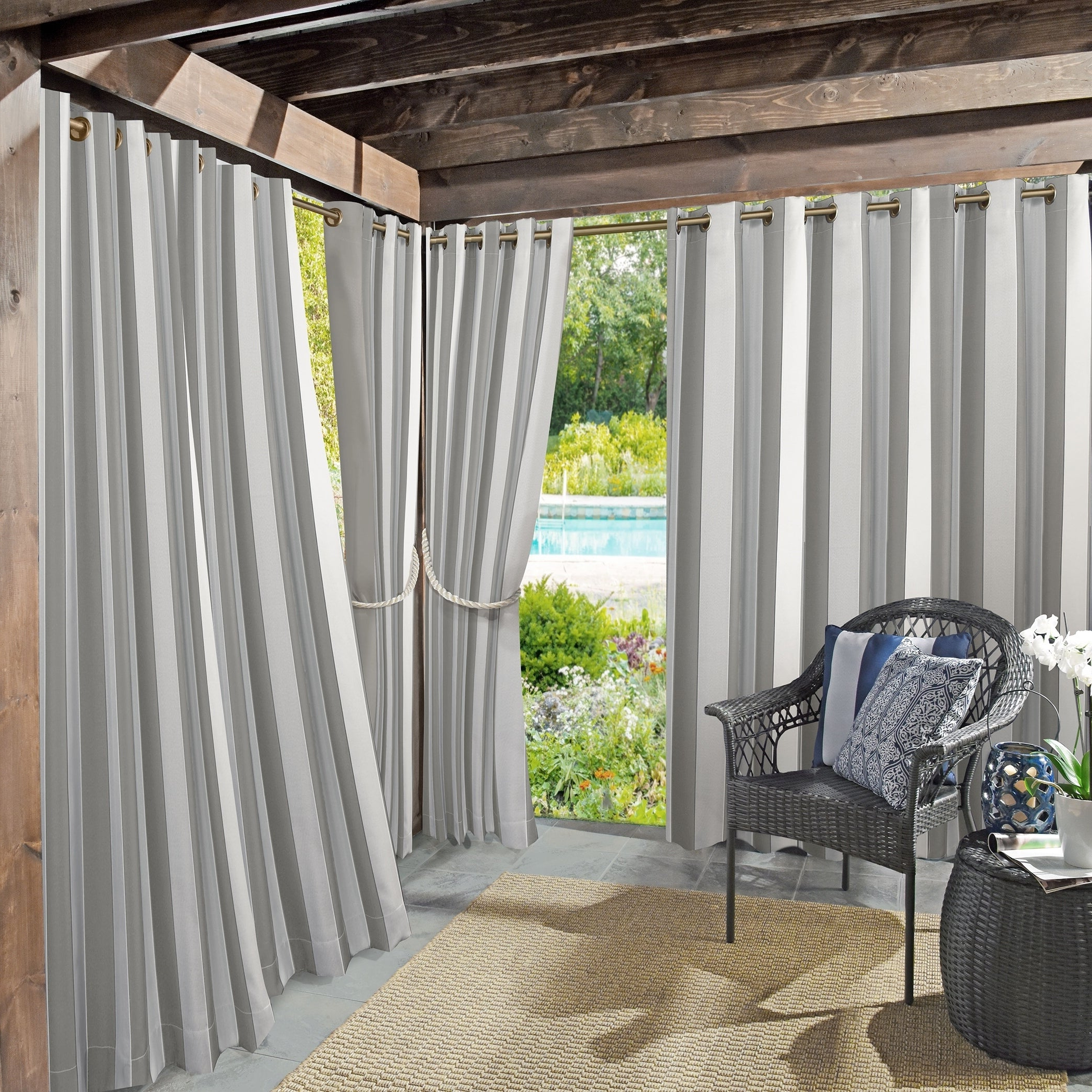 Featured Photo of Valencia Cabana Stripe Indoor/outdoor Curtain Panels