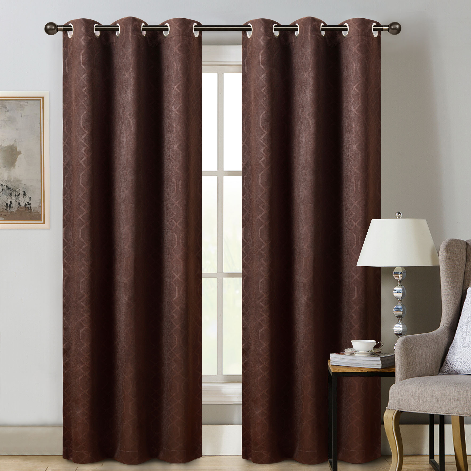 """Sun+blk Thermal Weave Embossed Blackout Grommet Single Curtain Panel 42""""x84"""" – Walmart With Regard To Popular Embossed Thermal Weaved Blackout Grommet Drapery Curtains (View 12 of 20)"""