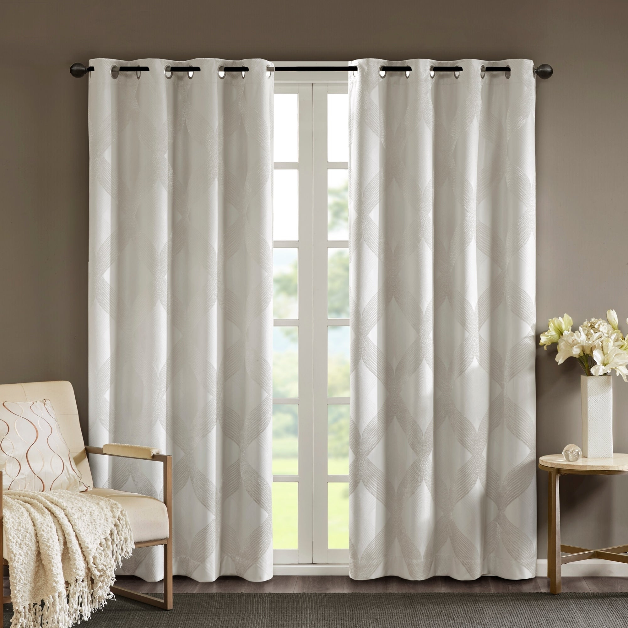 Sunsmart Abel Ogee Knitted Jacquard Total Blackout Curtain Panel Inside Latest Gracewood Hollow Tucakovic Energy Efficient Fabric Blackout Curtains (View 19 of 20)