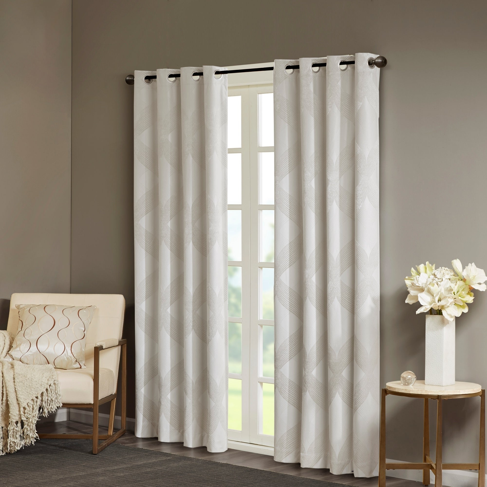 Sunsmart Abel Ogee Knitted Jacquard Total Blackout Curtain Panel Inside Newest Sunsmart Abel Ogee Knitted Jacquard Total Blackout Curtain Panels (View 6 of 20)
