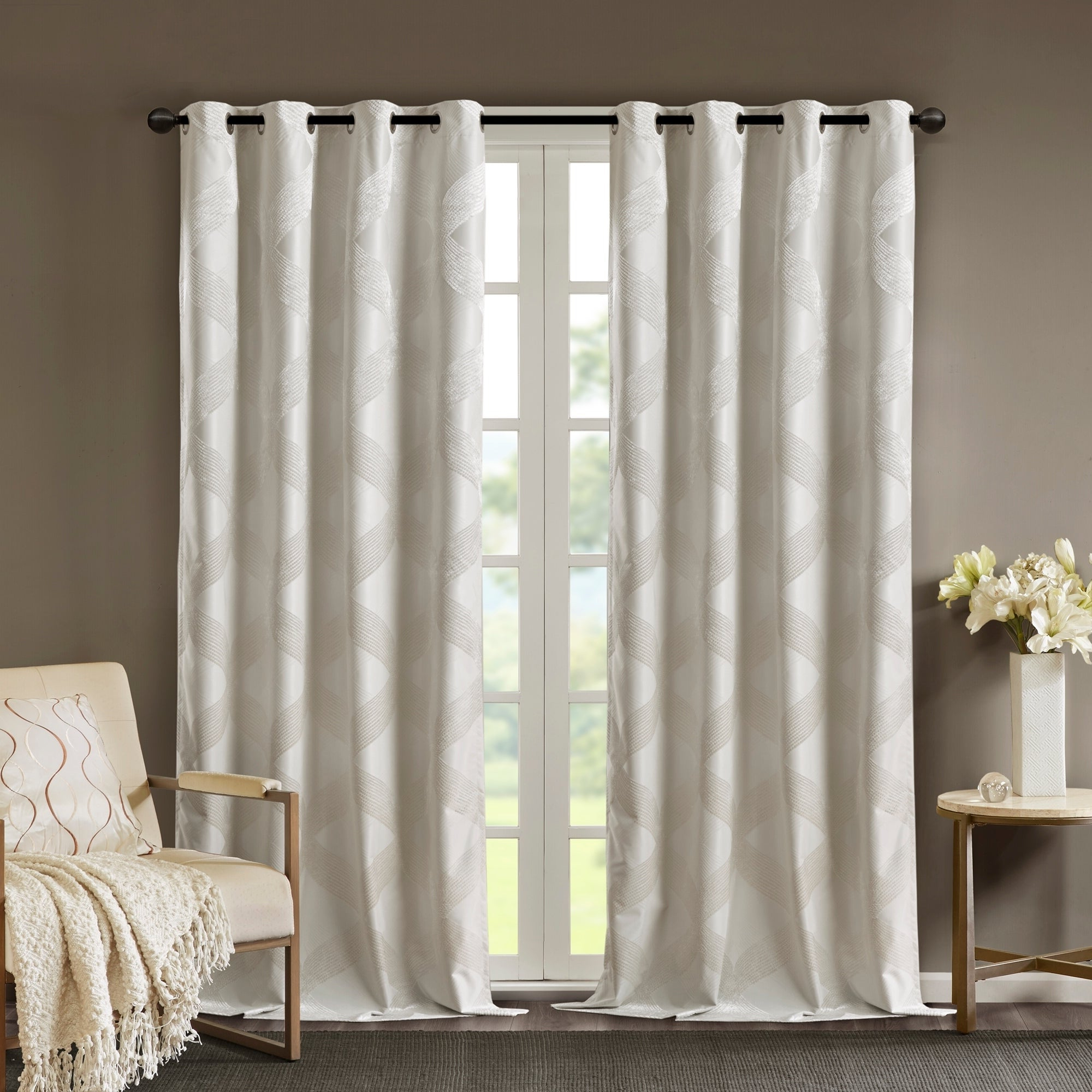 Sunsmart Abel Ogee Knitted Jacquard Total Blackout Curtain Panels In Preferred Sunsmart Abel Ogee Knitted Jacquard Total Blackout Curtain Panel (View 3 of 20)