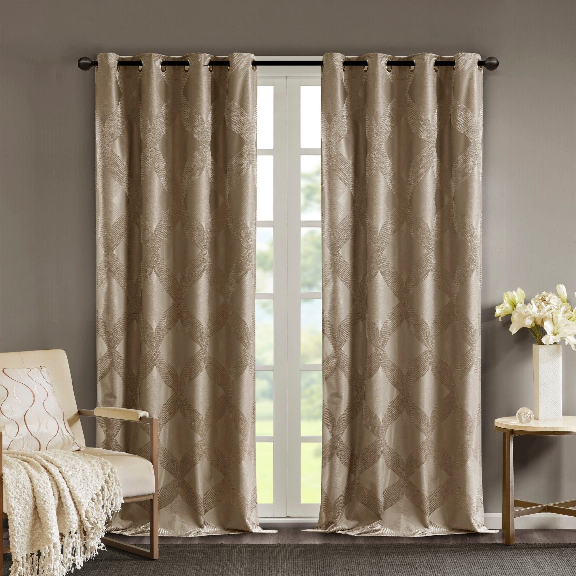 Sunsmart Abel Ogee Knitted Jacquard Total Blackout Curtain Panels Inside Trendy Sunsmart Abel Ogee Knitted Jacquard Total Blackout Curtain Panel (View 4 of 20)