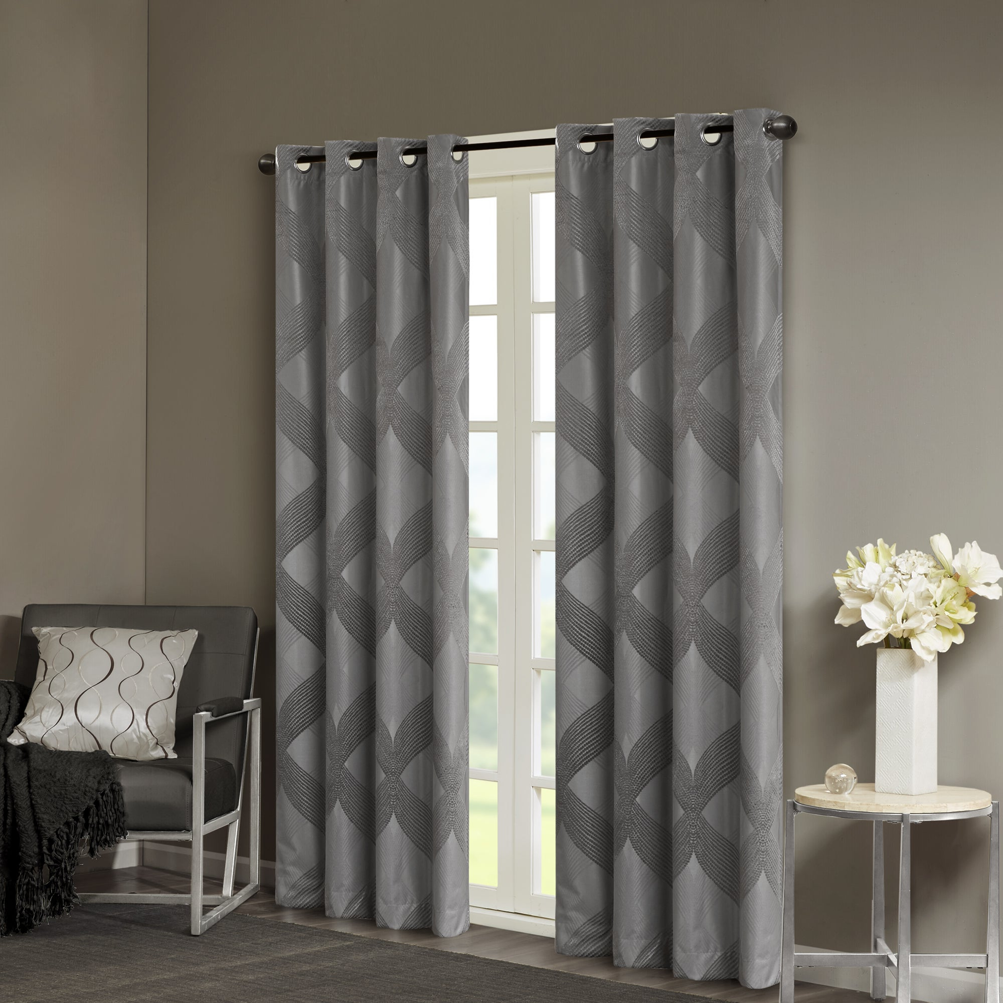 Sunsmart Abel Ogee Knitted Jacquard Total Blackout Curtain Panels Inside Widely Used Sunsmart Abel Ogee Knitted Jacquard Total Blackout Curtain Panel (View 5 of 20)