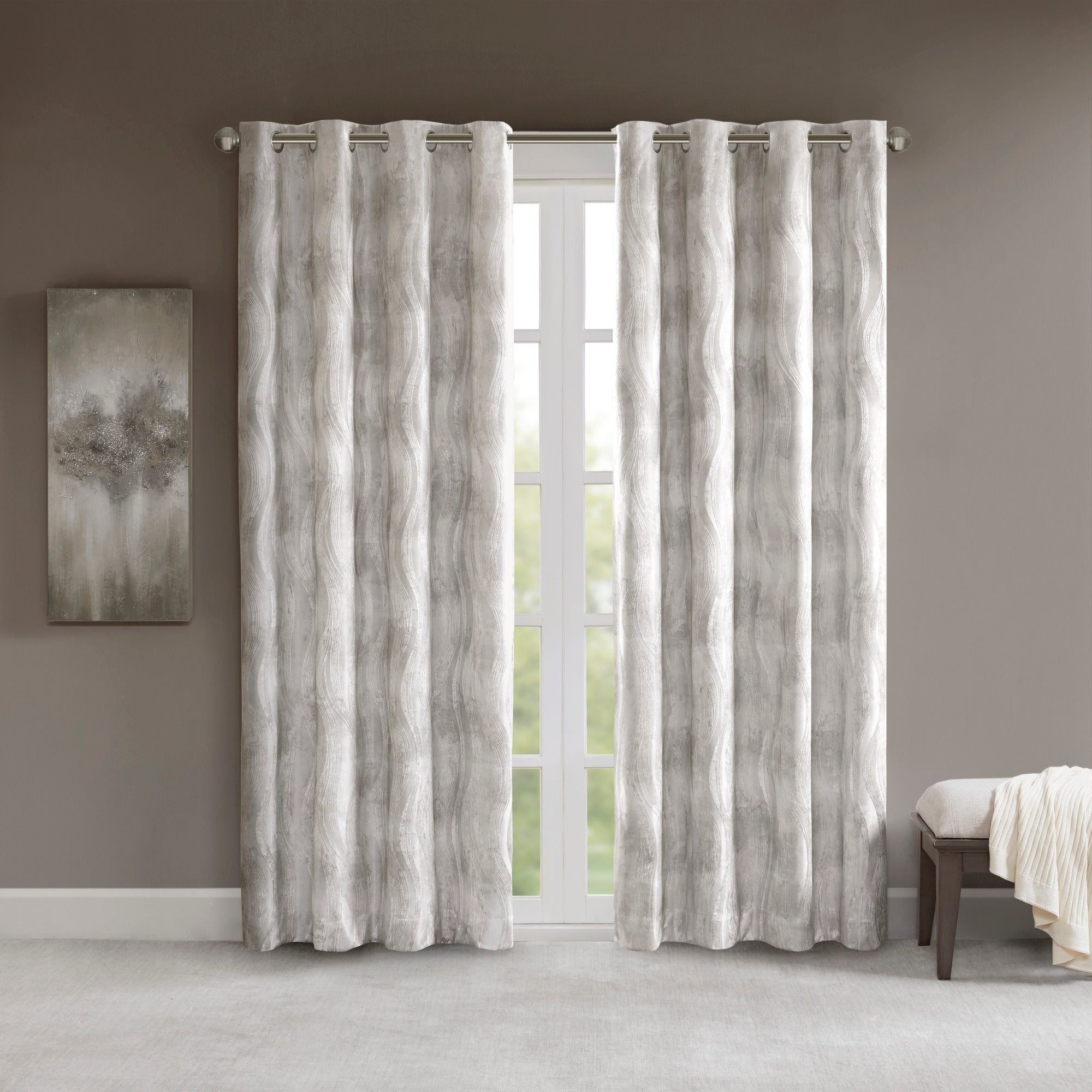 Sunsmart Alastair Ivory Printed Jacquard Total Blackout Single Curtain Panel In Favorite Sunsmart Abel Ogee Knitted Jacquard Total Blackout Curtain Panels (View 19 of 20)