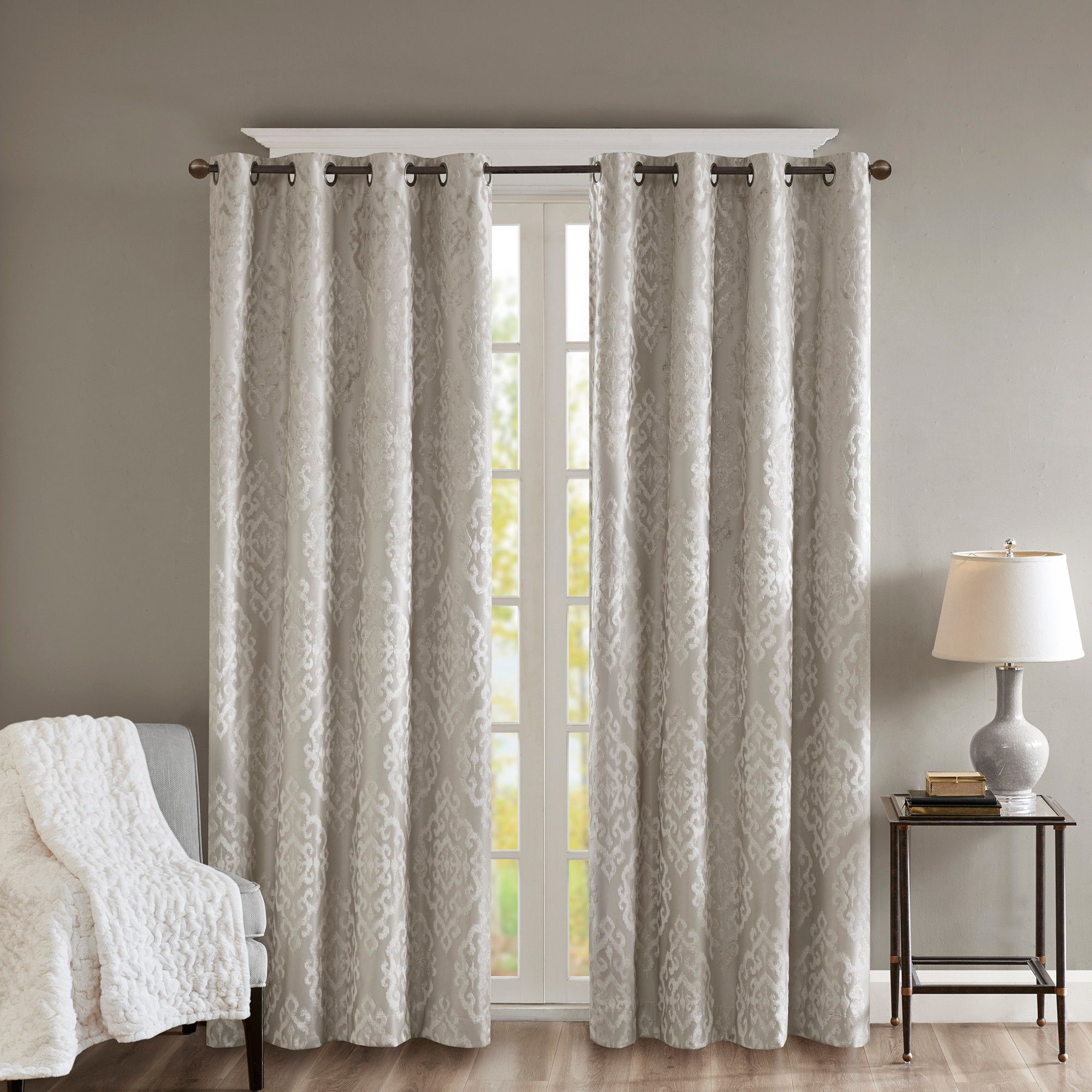 Sunsmart Dahlia Paisley Printed Total Blackout Single Window Curtain Panels Within Well Known Azalea Knitted Jacquard Total Blackout Panel Gray 50X (View 6 of 20)