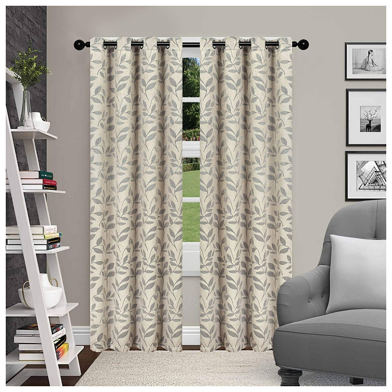 Superior Leaves Insulated Thermal Blackout Grommet Curtain Panel Pairs With Widely Used Superior Leaves Blackout Curtain Set Of 2, Thermal Insulated Panel Pair  With Grommet Top Header, Beautiful Leaf Jacquard Room Darkening Drapes, (View 14 of 20)