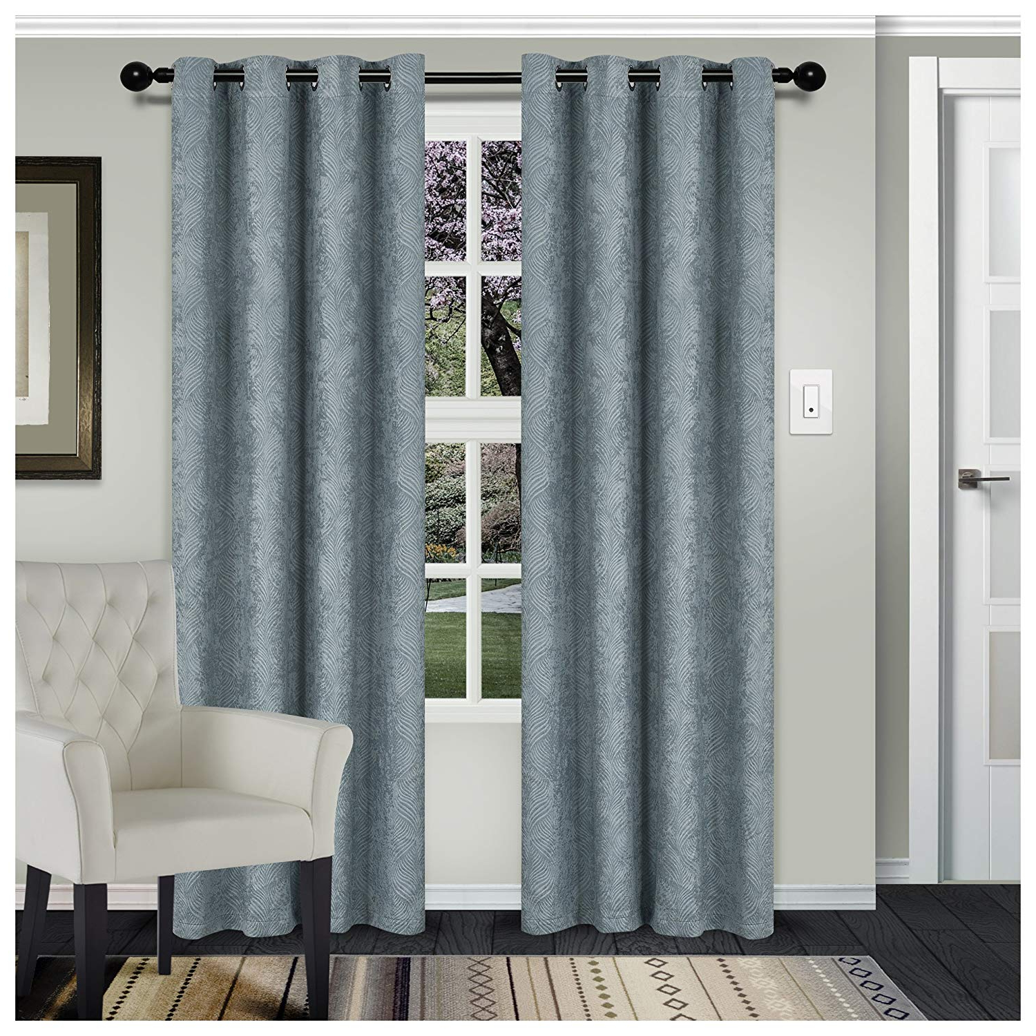 Superior Leaves Insulated Thermal Blackout Grommet Curtain Panel Pairs Within Latest Superior Waverly Blackout Curtain Set Of 2, Thermal Insulated Panel Pair  With Grommet Top Header, Beautiful Embossed Wave Room Darkening Drapes, (View 15 of 20)