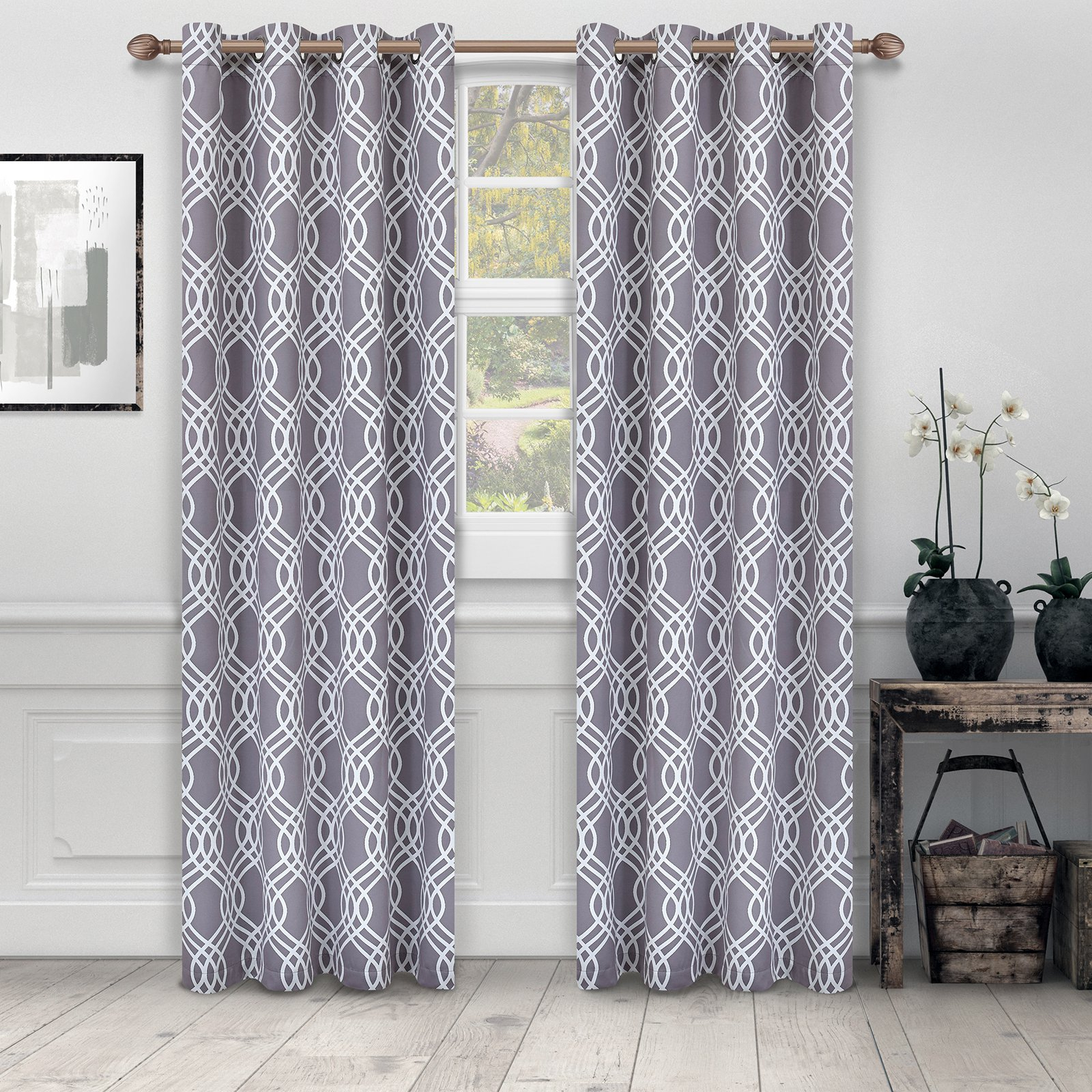 Superior Ribbon Blackout 2 Panel Curtains Gray In 2019 Inside Most Up To Date Superior Leaves Insulated Thermal Blackout Grommet Curtain Panel Pairs (View 17 of 20)