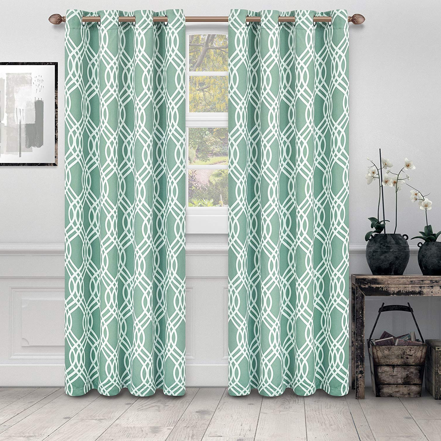 """Superior Ribbon Collection Quality Soft, Insulated, Thermal, Woven Blackout Grommet Printed Curtain Panel Pair (set Of 2) 52"""" X 63"""" – Teal Regarding Newest Insulated Thermal Blackout Curtain Panel Pairs (View 15 of 20)"""