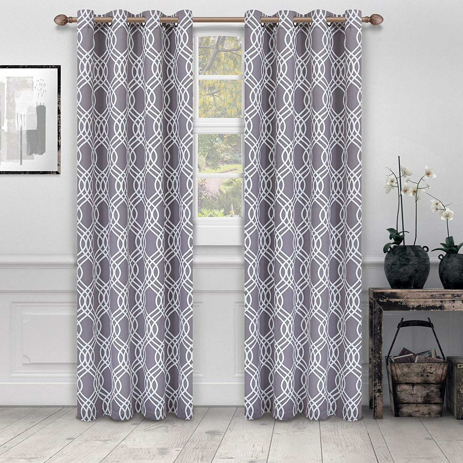 """Superior Ribbon Collection Quality Soft, Insulated, Thermal, Woven Blackout Grommet Printed Curtain Panel Pair (set Of 2) 52"""" X 84"""" – Silver In Fashionable Superior Solid Insulated Thermal Blackout Grommet Curtain Panel Pairs (View 13 of 20)"""