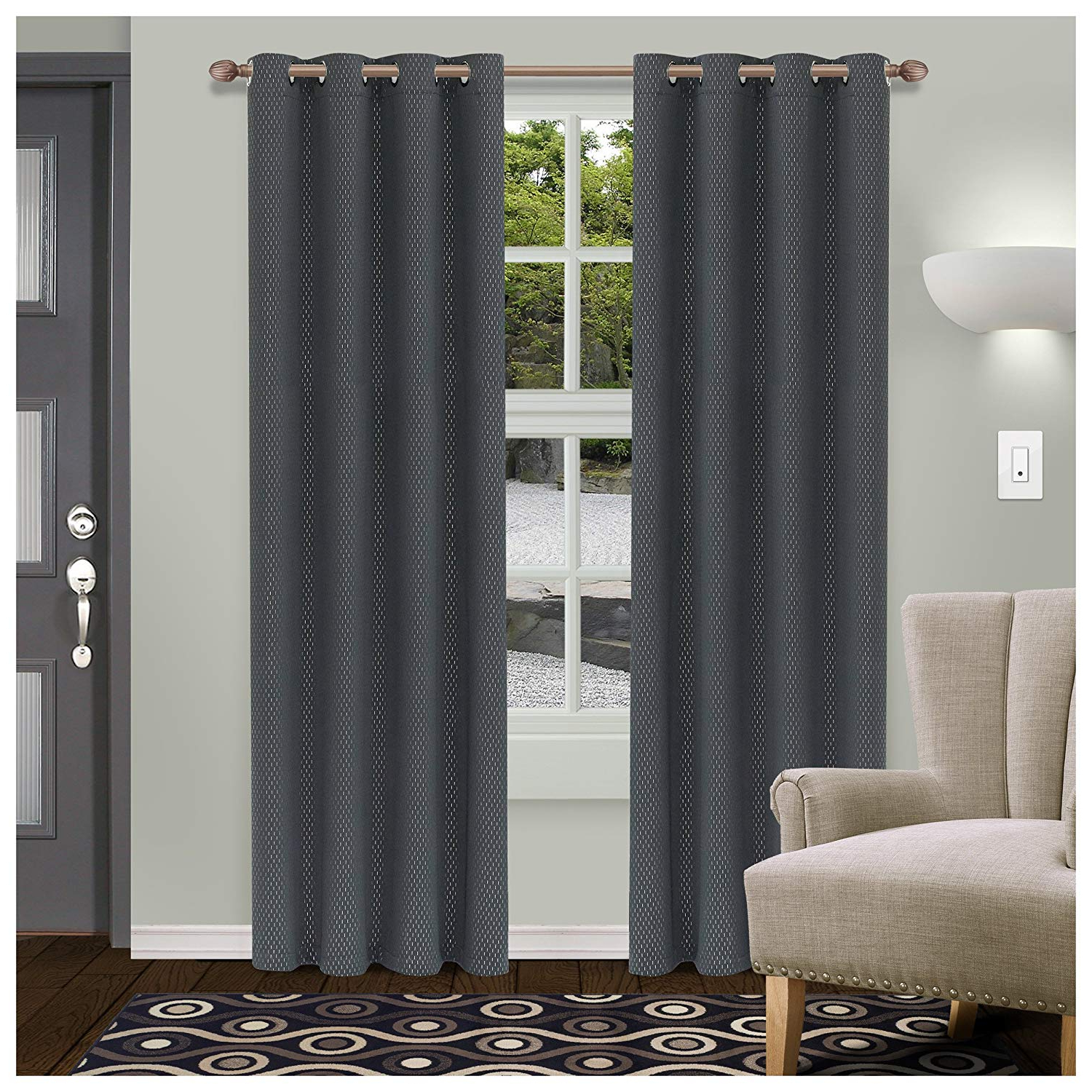 Superior Shimmer Blackout Curtain Set Of 2, Thermal Insulated Panel Pair  With Grommet Top Header, Chic Metallic Embellished Room Darkening Drapes, With Popular Superior Leaves Insulated Thermal Blackout Grommet Curtain Panel Pairs (View 18 of 20)