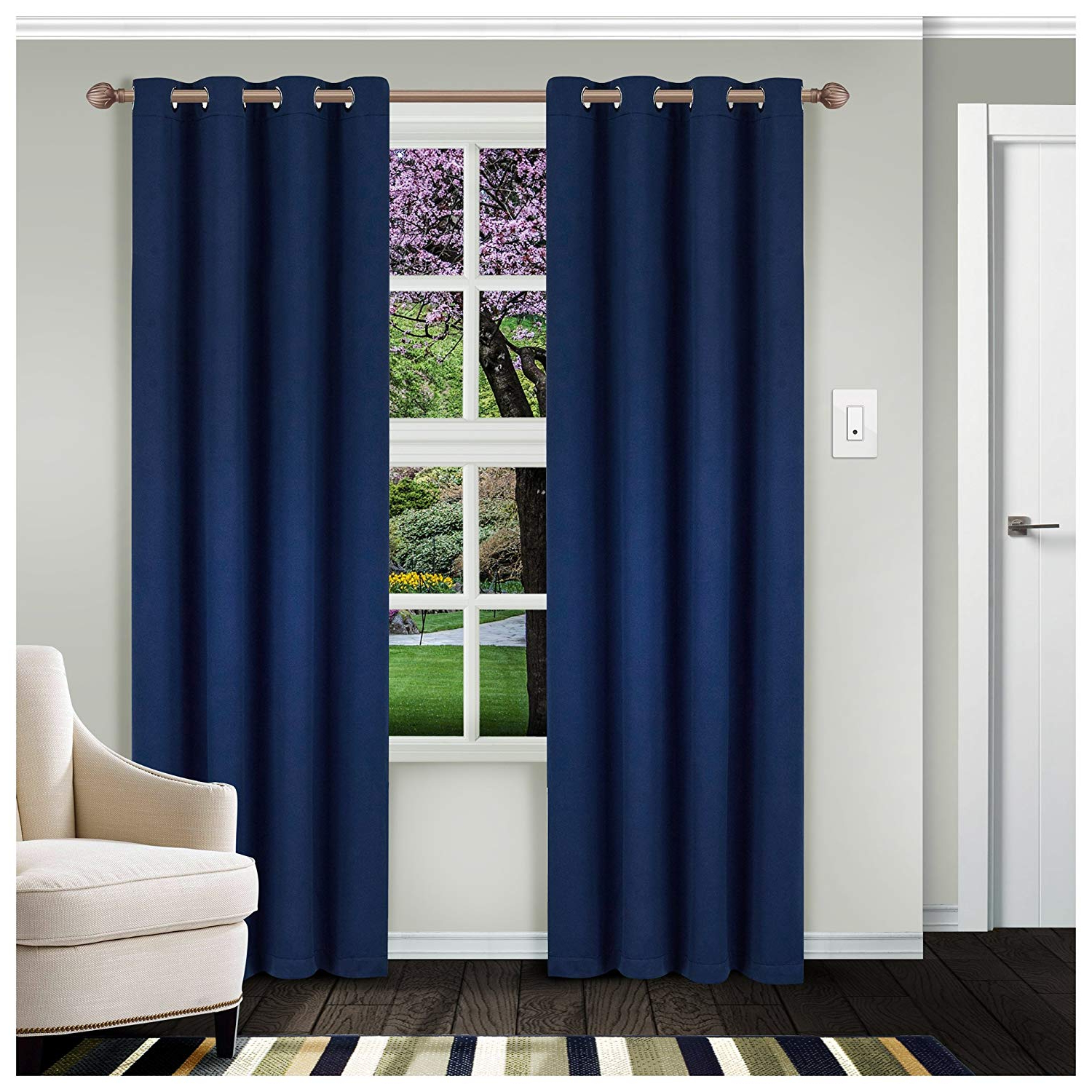 Superior Solid Blackout Curtain Set Of 2, Thermal Insulated Panel Pair With  Grommet Top Header, Elegant Solid Room Darkening Drapes, Available In 4 Throughout Well Known Thermal Insulated Blackout Curtain Panel Pairs (View 13 of 20)