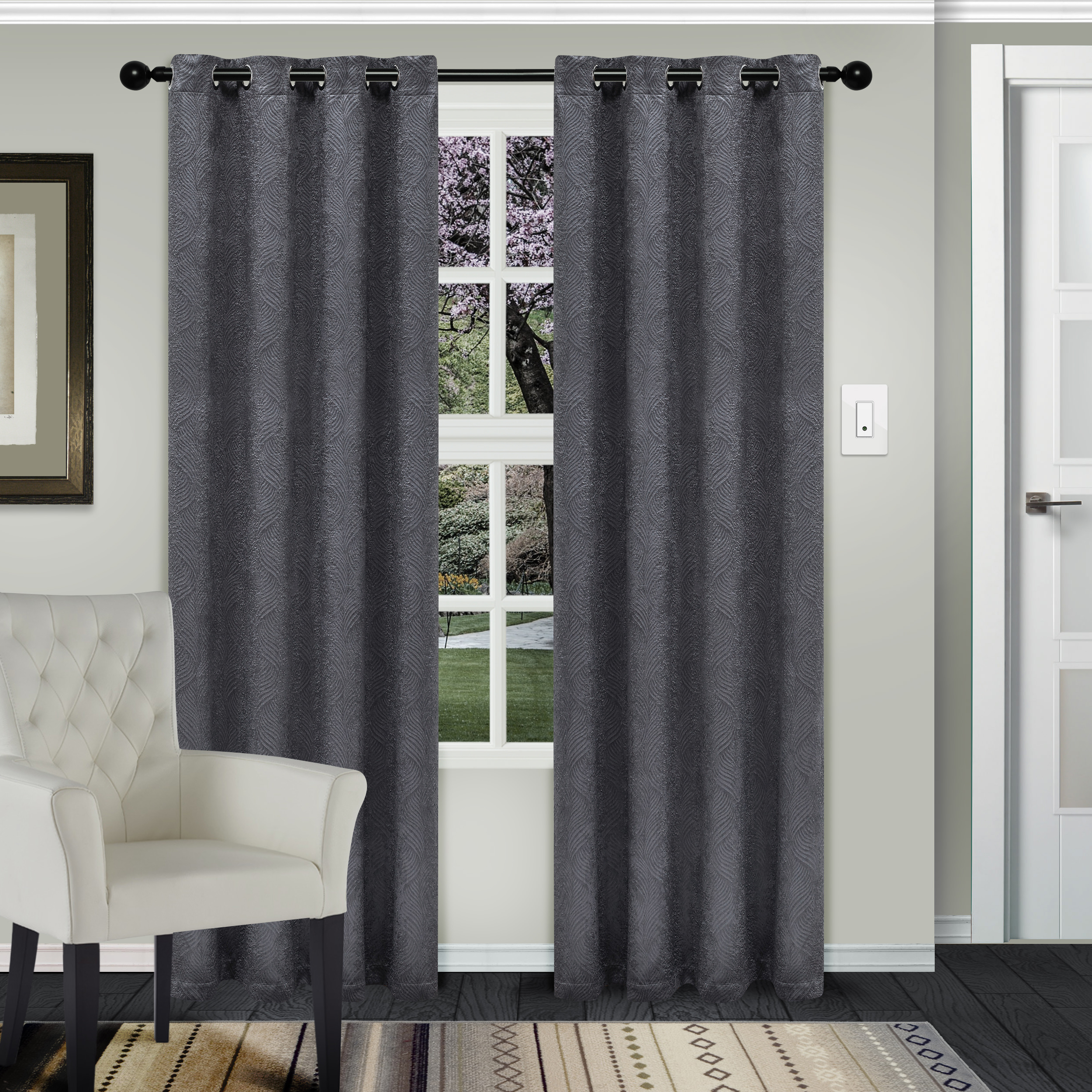 Superior Waverly Textured Blackout Curtain Set Of 2, Insulated Panels With Grommet Top With Regard To Famous Solid Insulated Thermal Blackout Long Length Curtain Panel Pairs (View 10 of 20)