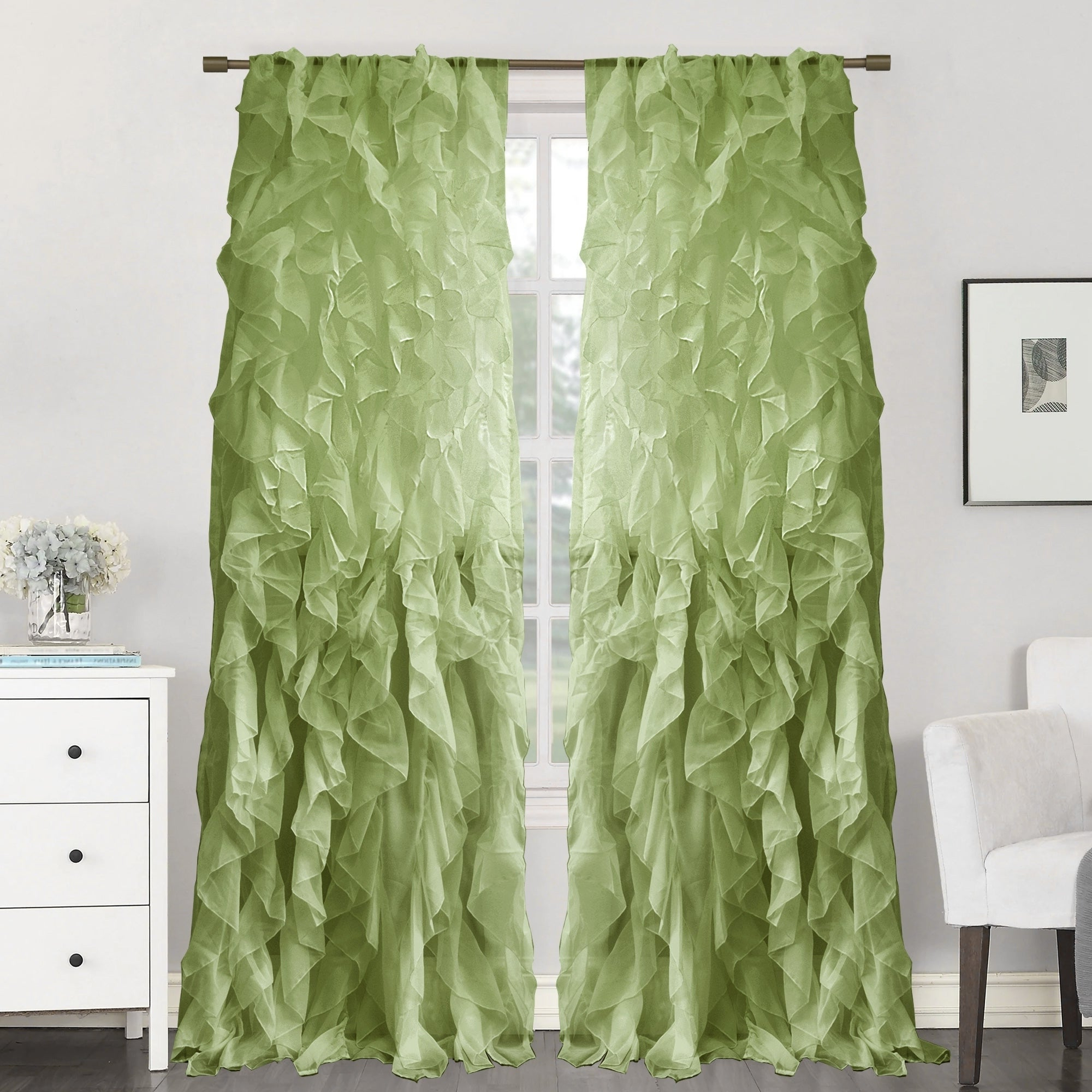 "Sweet Home Collection Sheer Voile Waterfall Ruffled Tier 96 Inch Single  Curtain Panel – 96"" Long X 50"" Wide With Regard To Well Liked Sheer Voile Waterfall Ruffled Tier Single Curtain Panels (View 19 of 20)"
