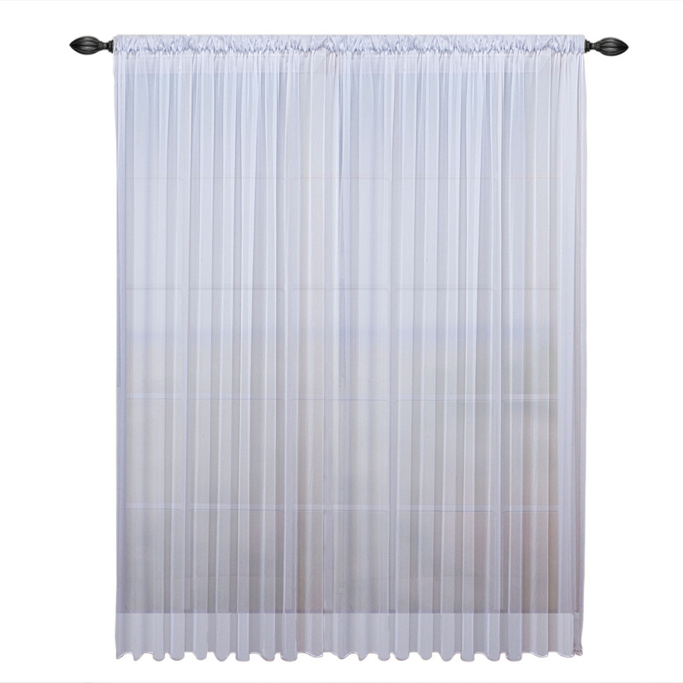 "Tergaline Double Wide Sheer Curtain Panel With Weighted Hem, White, 108""x63"" Pertaining To Recent Montpellier Striped Linen Sheer Curtains (View 20 of 20)"