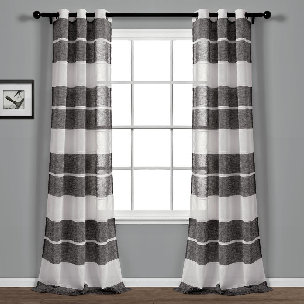 Textured Stripe Grommet Sheer Window Curtain Panels Black/white 38X84 Set Lush Decor Throughout Widely Used Ombre Stripe Yarn Dyed Cotton Window Curtain Panel Pairs (View 20 of 20)