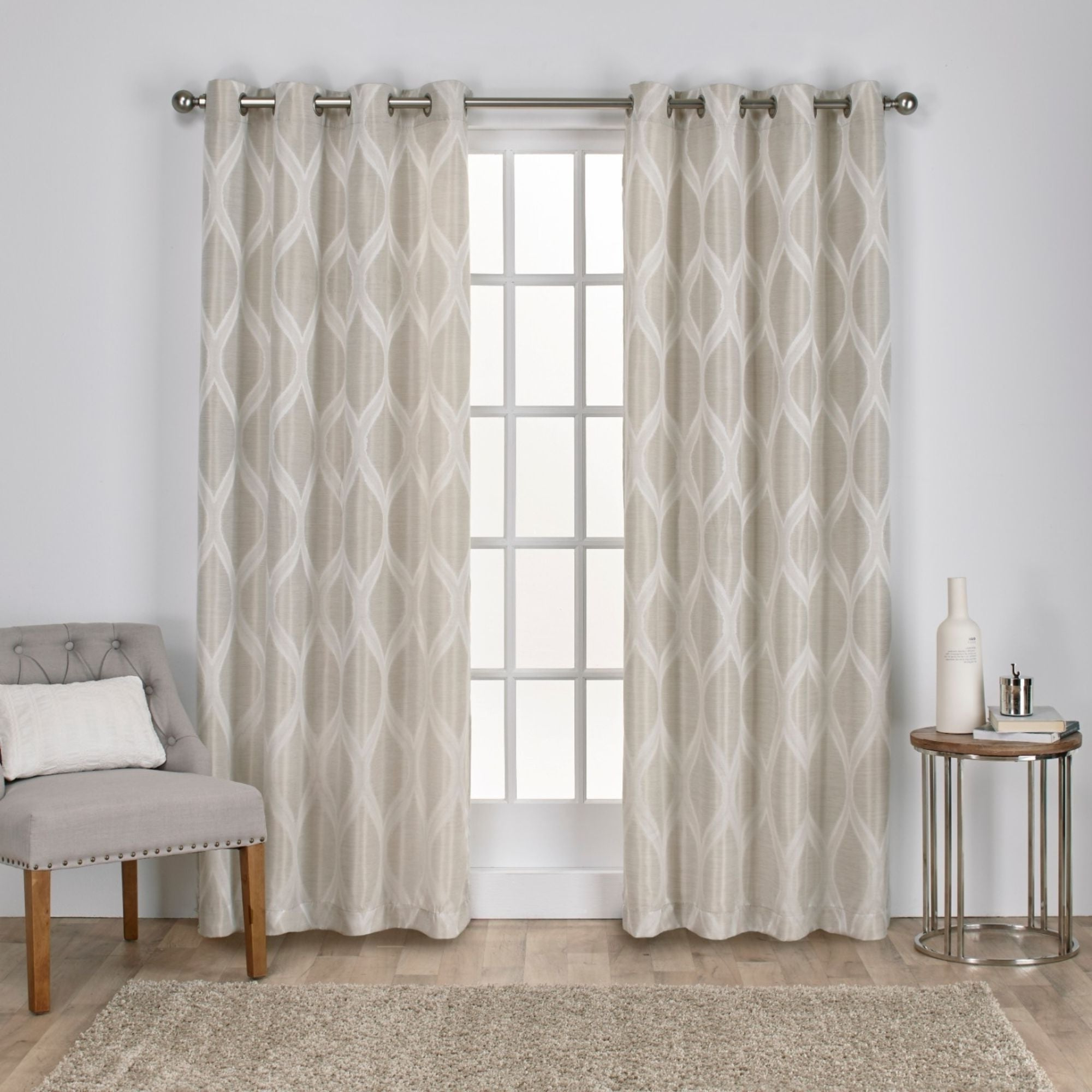 The Curated Nomad Duane Jacquard Grommet Top Curtain Panel Pairs Inside Favorite The Curated Nomad Carlton Jacquard Grommet Top Curtain Panel Pair (View 3 of 21)