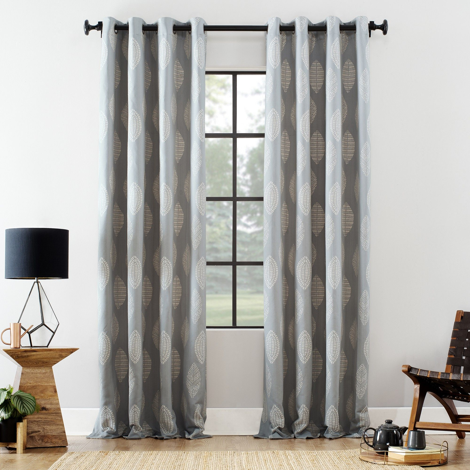 """The Curated Nomad Duane Jacquard Grommet Top Curtain Panel Pairs Regarding Latest 52""""x84"""" Herringbone Leaf Cotton Blend Grommet Top Curtain (View 15 of 21)"""