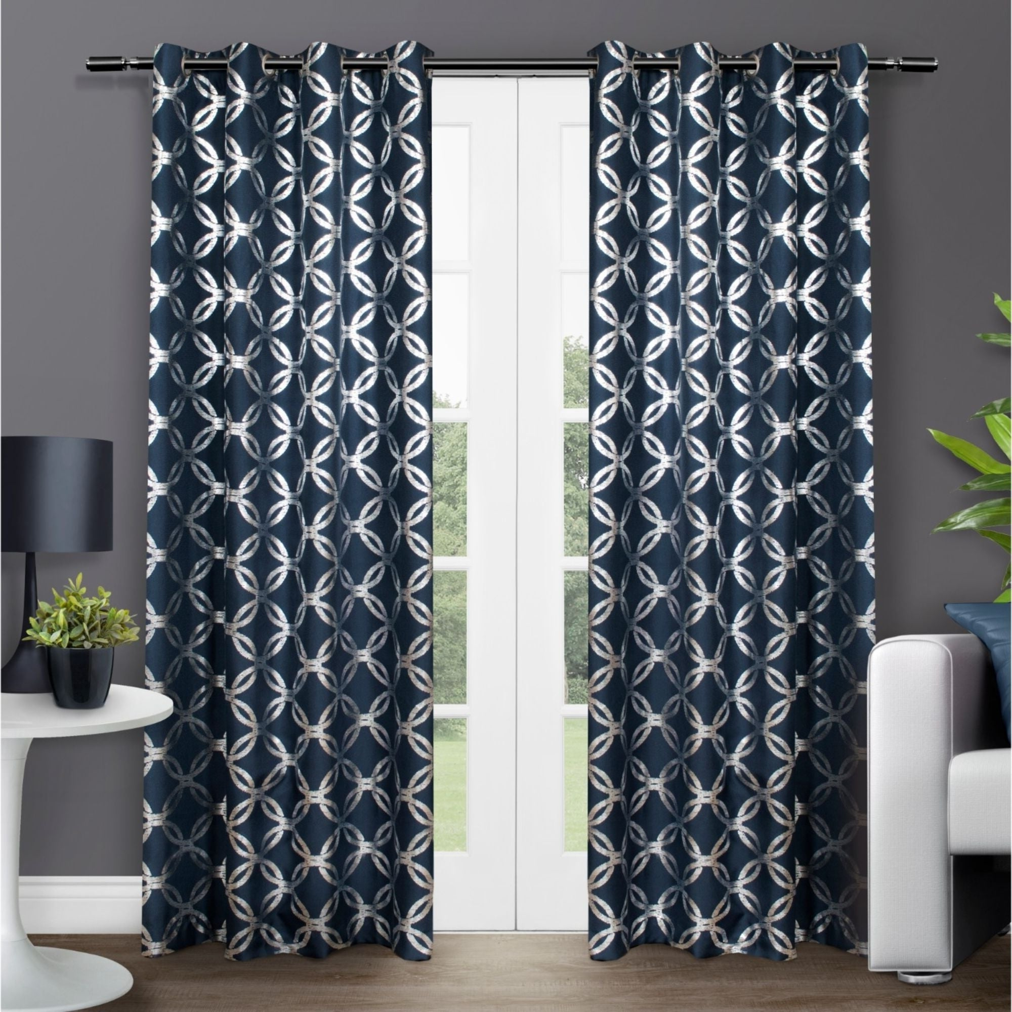 The Curated Nomad Duane Jacquard Grommet Top Curtain Panel Pairs Regarding Widely Used The Curated Nomad Sloat Metallic Geometric Grommet Top Curtain Panel Pair (View 10 of 21)