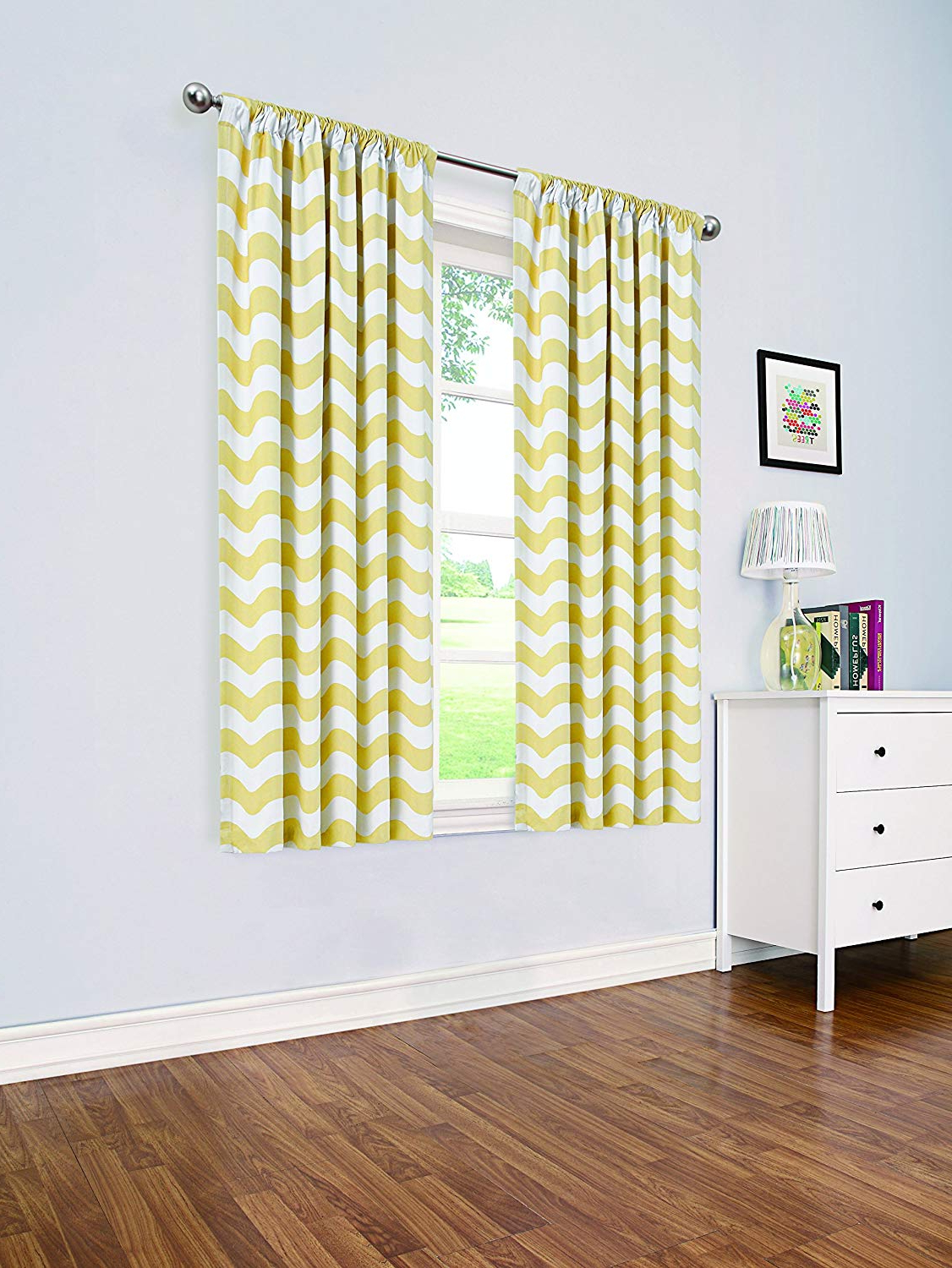 "Thermaback Blackout Window Curtains Within Best And Newest Eclipse My Scene Thermaback Blackout Wavy Chevron Window Curtain Panel, 42"" X 63"", Yellow (View 18 of 20)"
