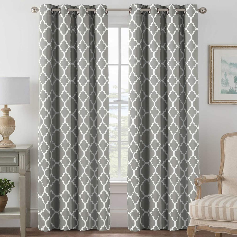 Thermal Insulated Blackout Curtain Drapes Home Fashion Window Treatment Panels For Bedroom/living Room, Elegant Natural Feeling, Moroccan Tile Throughout Well Liked Moroccan Style Thermal Insulated Blackout Curtain Panel Pairs (View 20 of 20)