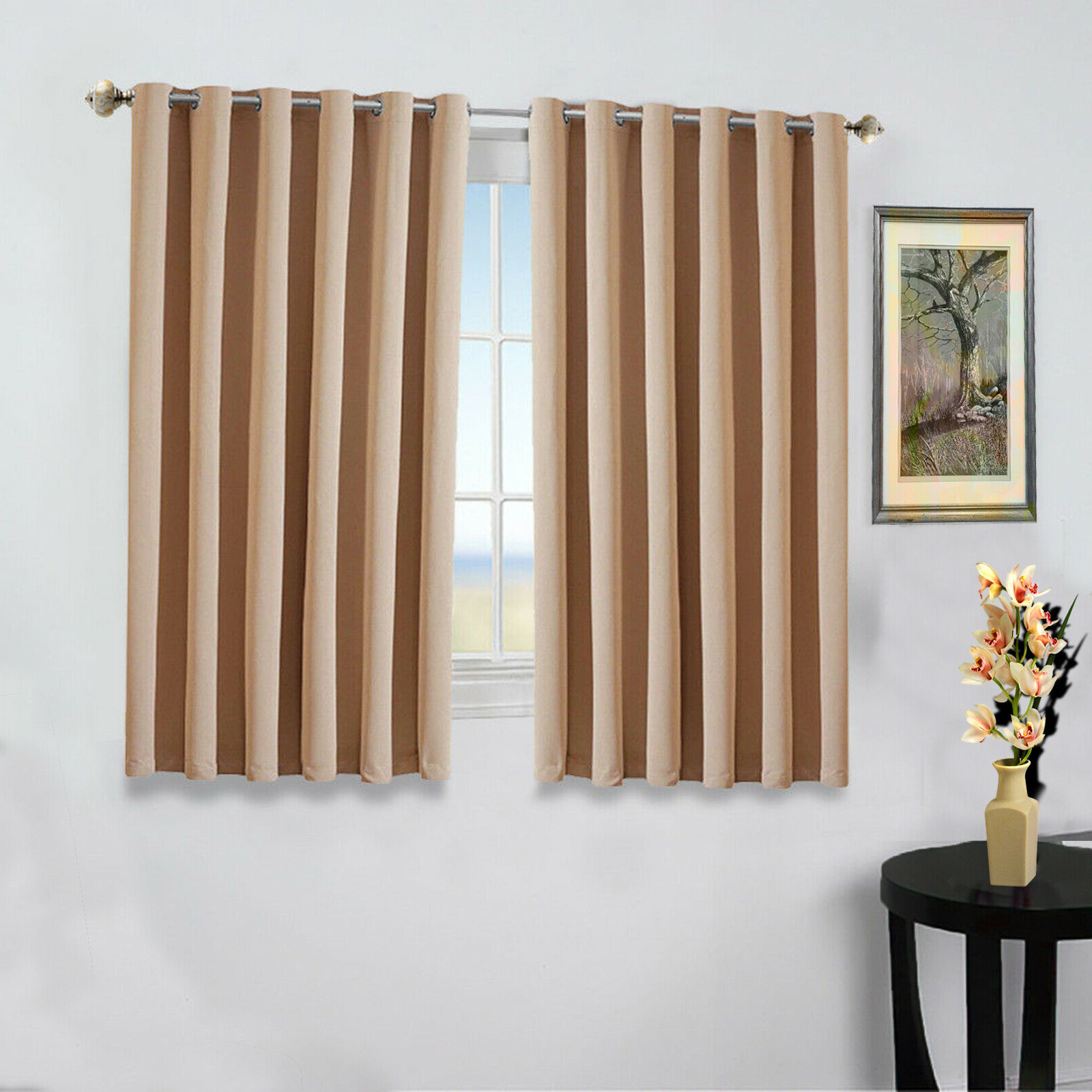 Thermal Insulated Blackout Curtain Pairs With Regard To Newest Details About New Pair Of Eyelet Thermal Insulated Blackout Curtains For Short Windows Kitchen (View 19 of 20)