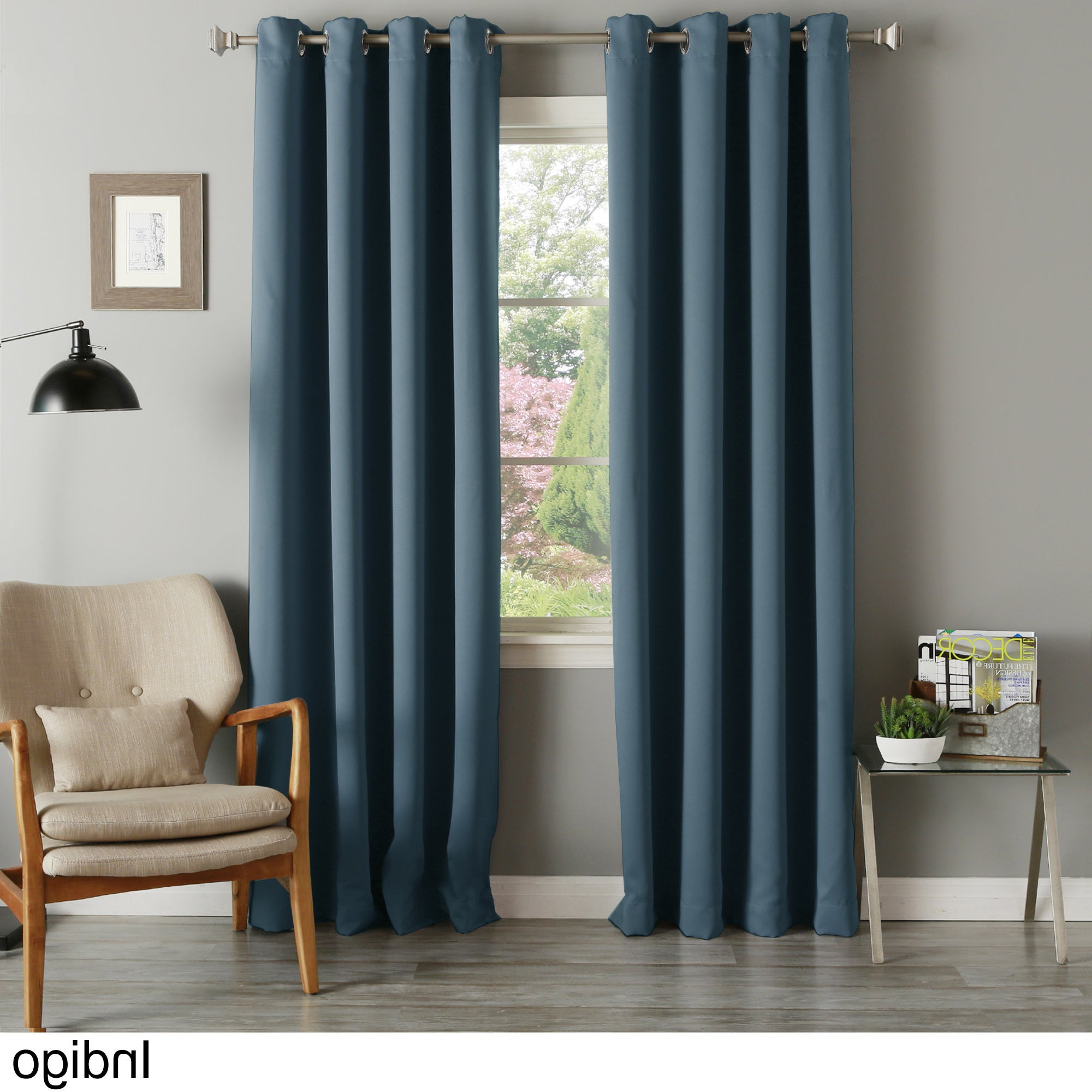 Thermal Insulated Blackout Curtain Panel Pairs Inside Fashionable Aurora Home Silvertone Grommet Thermal Insulated Blackout Curtain Panel Pair (View 14 of 20)