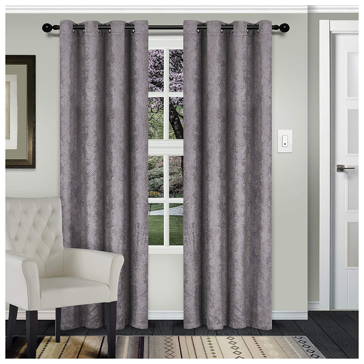 Thermal Insulated Blackout Curtain Panel Pairs Inside Most Recent Superior Waverly Blackout Curtain Set Of 2, Thermal Insulated Panel Pair  With Grommet Top Header, Beautiful Embossed Wave Room Darkening Drapes, (View 16 of 20)