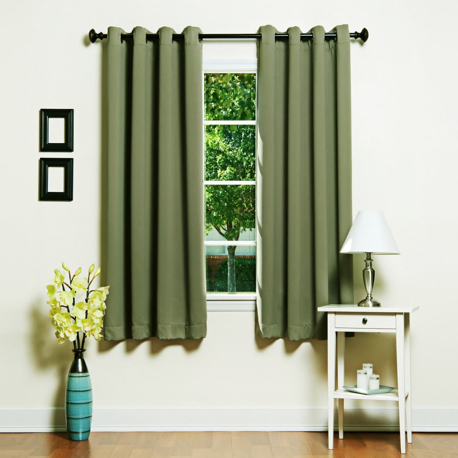 Thermal Insulated Blackout Grommet Top Curtain Panel Pairs Inside Most Popular Aurora Home Grommet Top Thermal Insulated Blackout 64 Inch (View 15 of 20)