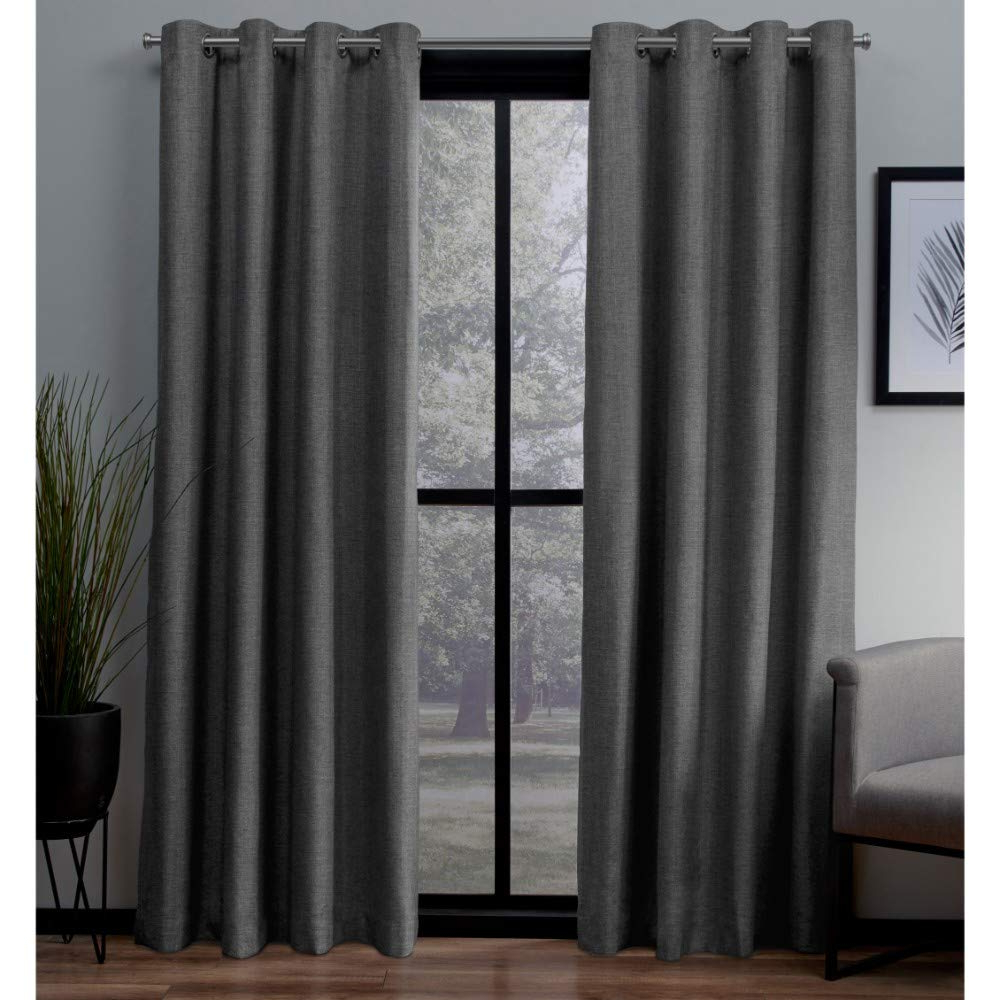 Thermal Textured Linen Grommet Top Curtain Panel Pairs Pertaining To Famous Exclusive Home Curtains London Textured Linen Thermal Window Curtain Panel Pair With Grommet Top, 54x108, Charcoal, 2 Piece (View 5 of 20)