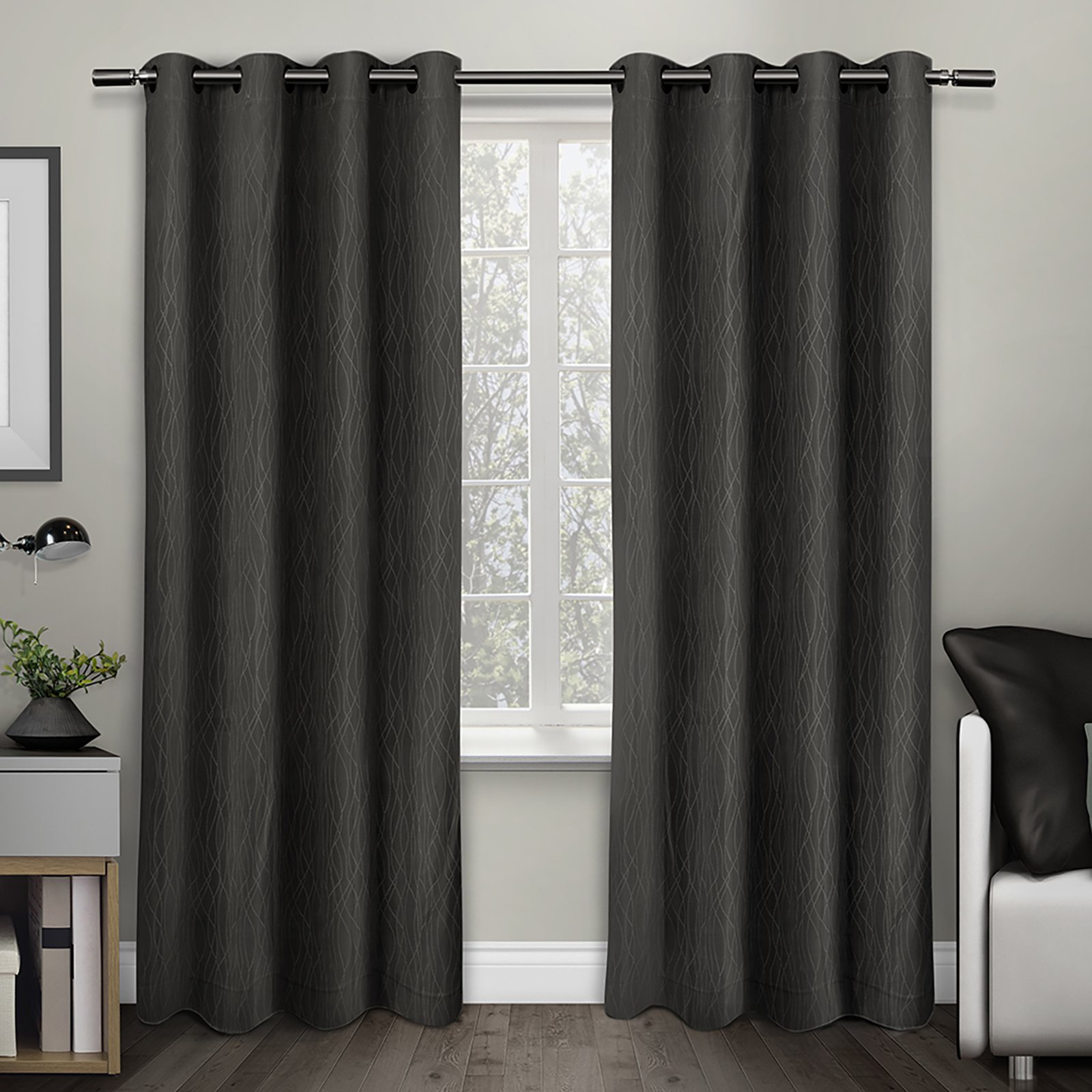 Thermal Textured Linen Grommet Top Curtain Panel Pairs Regarding Most Up To Date Exclusive Home Crete Textured Jacquard Thermal Window Curtain Panel Pair With Grommet Top (View 9 of 20)
