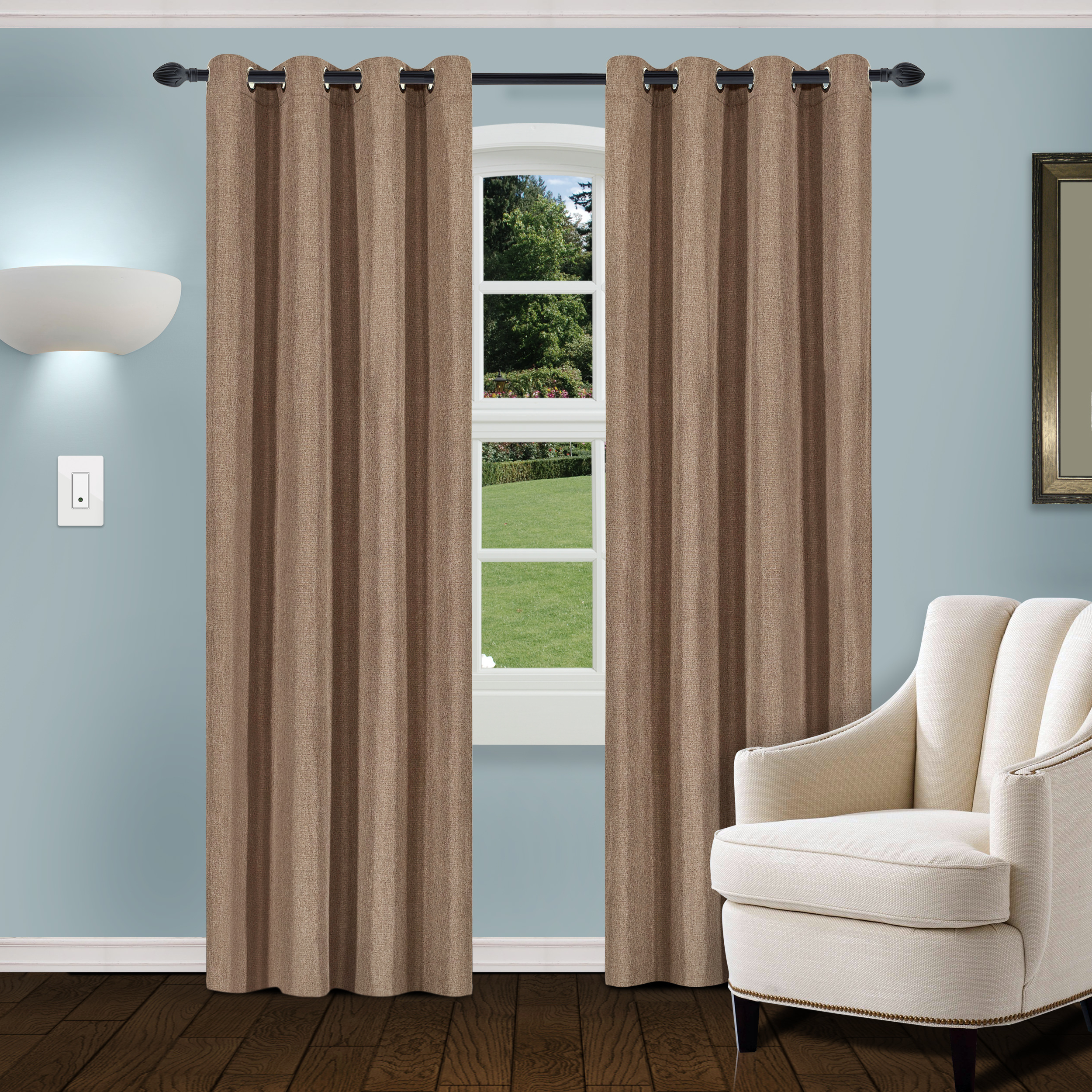 Thermal Textured Linen Grommet Top Curtain Panel Pairs Throughout Fashionable Superior Linen Textured Blackout Curtain Set Of 2 With Grommet Top Header (View 16 of 20)