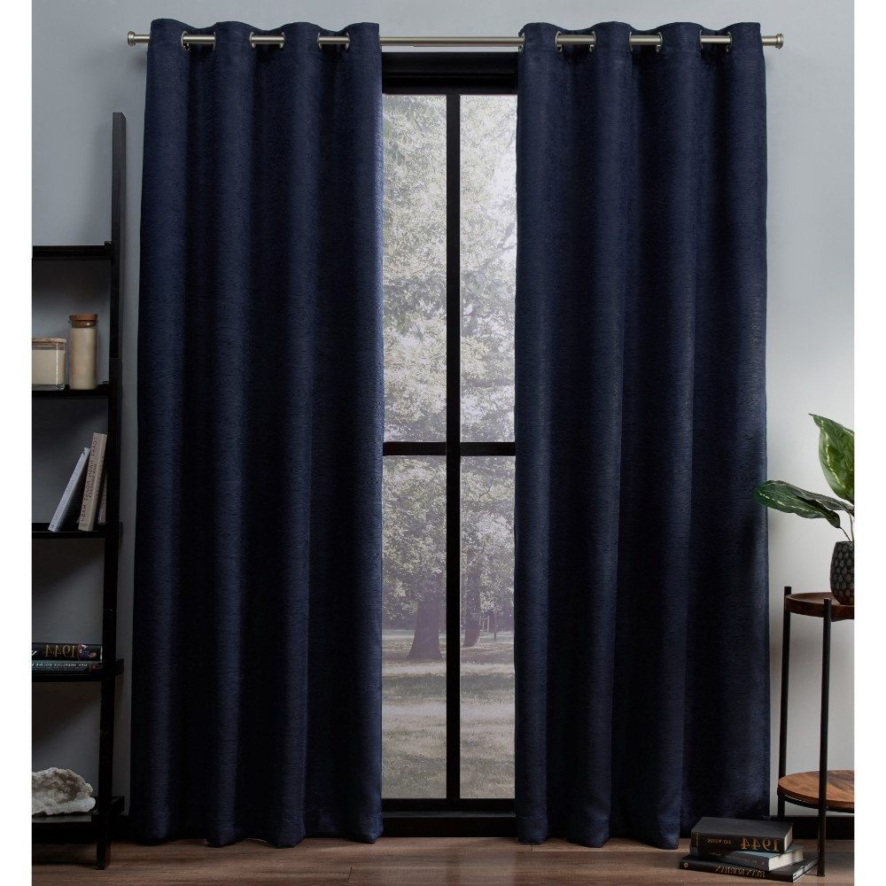 Thermal Woven Blackout Grommet Top Curtain Panel Pairs In Fashionable Exclusive Home Oxford Textured Sateen Woven Blackout Grommet Top Curtain Panel Pair, Navy, 52x (View 11 of 20)