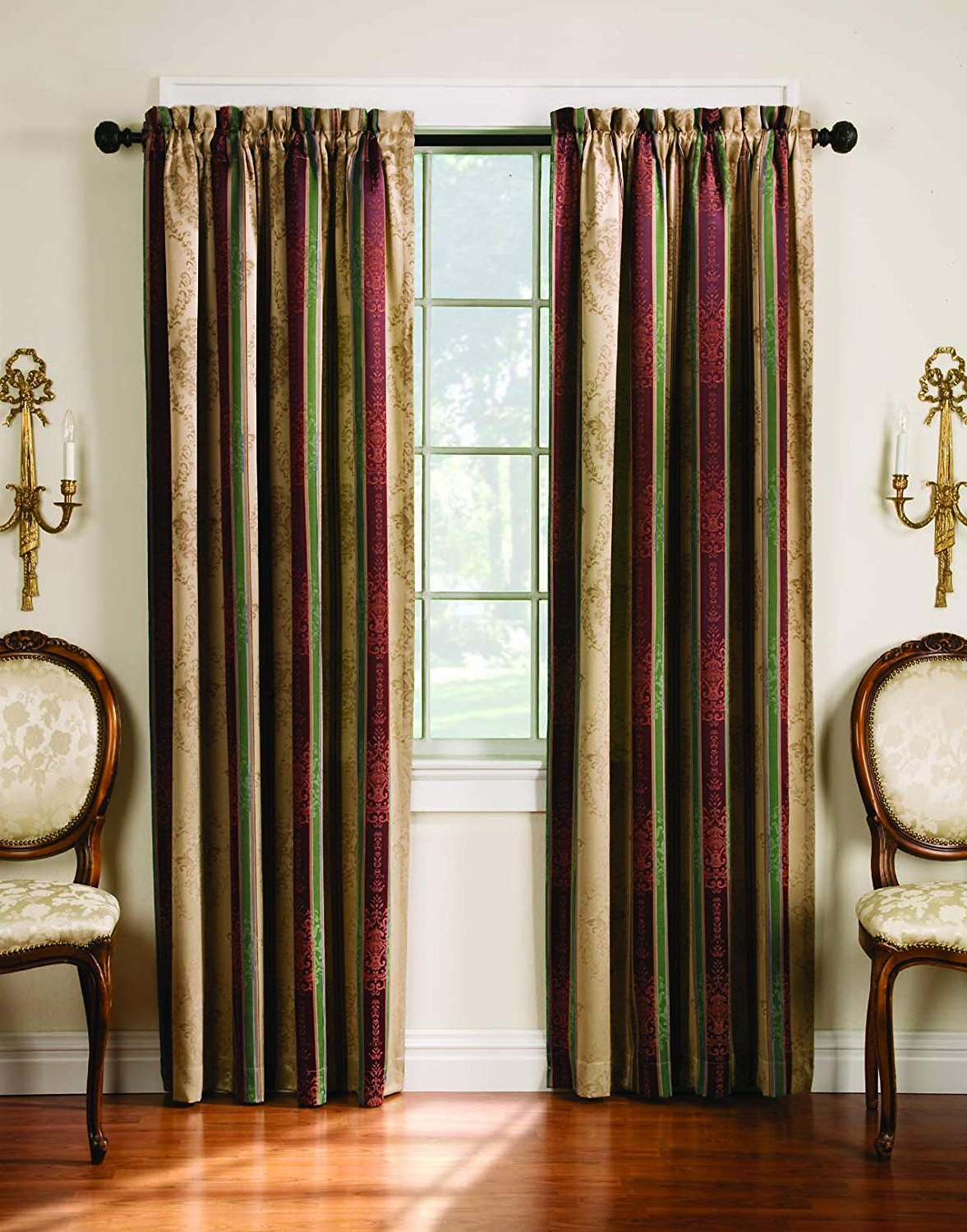 Thermatec Tuscan Stripe Thermal Backed Pole Top Panel, 52 Inch84 Inch, Autumn In Newest Tuscan Thermal Backed Blackout Curtain Panel Pairs (View 3 of 20)