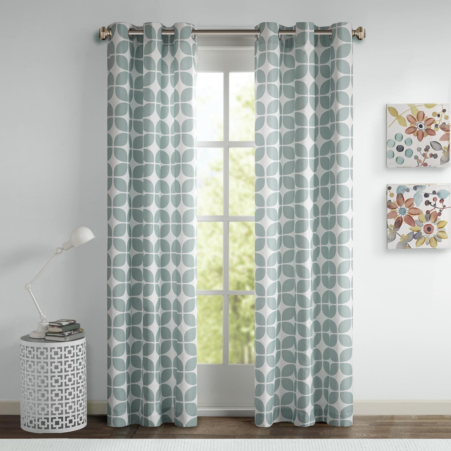 This Geometric Printed Panel Pair Is The Perfect Modern Within Famous Essentials Almaden Fretwork Printed Grommet Top Curtain Panel Pairs (View 13 of 20)