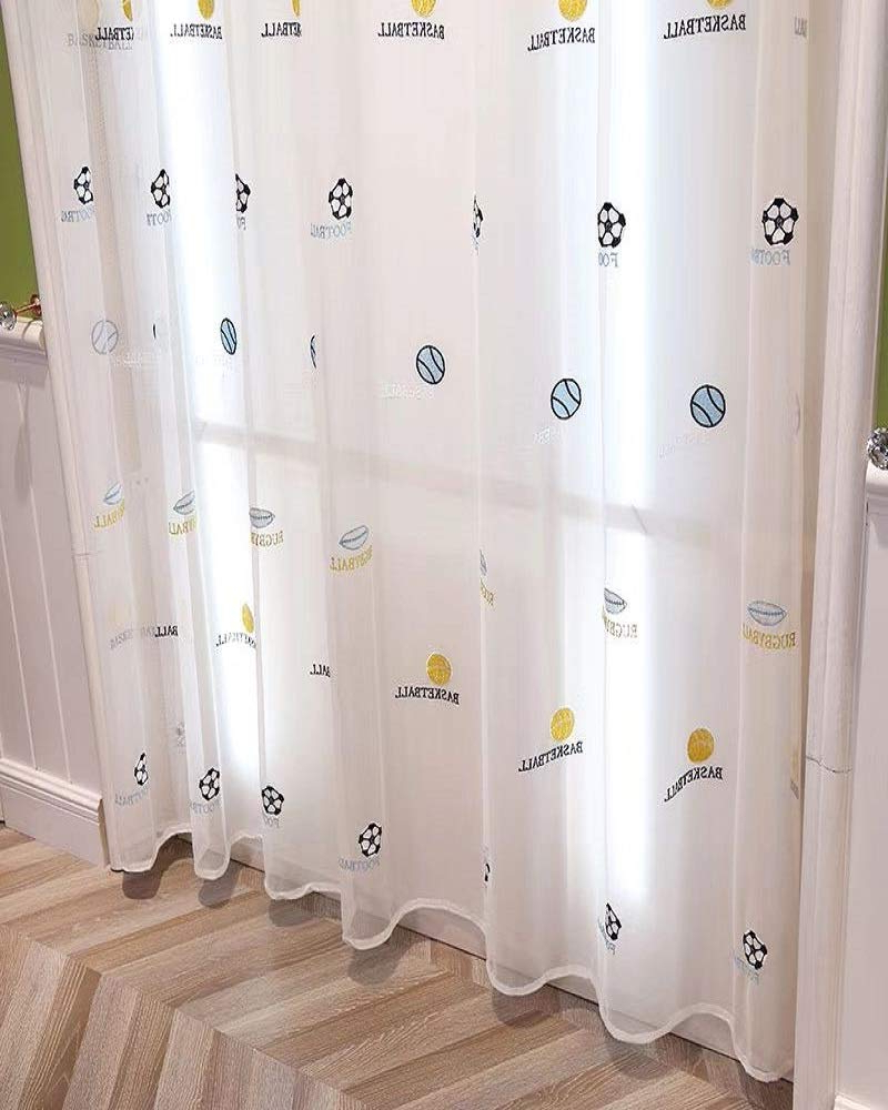 Tiyana Boys Curtain 63 Inch Length Basketball Football Rugbyball Embroidered Sheer Curtain For Kids Room Rod Pocket Top 1 Panel 54x63 Inch With Regard To Best And Newest Kida Embroidered Sheer Curtain Panels (View 13 of 20)