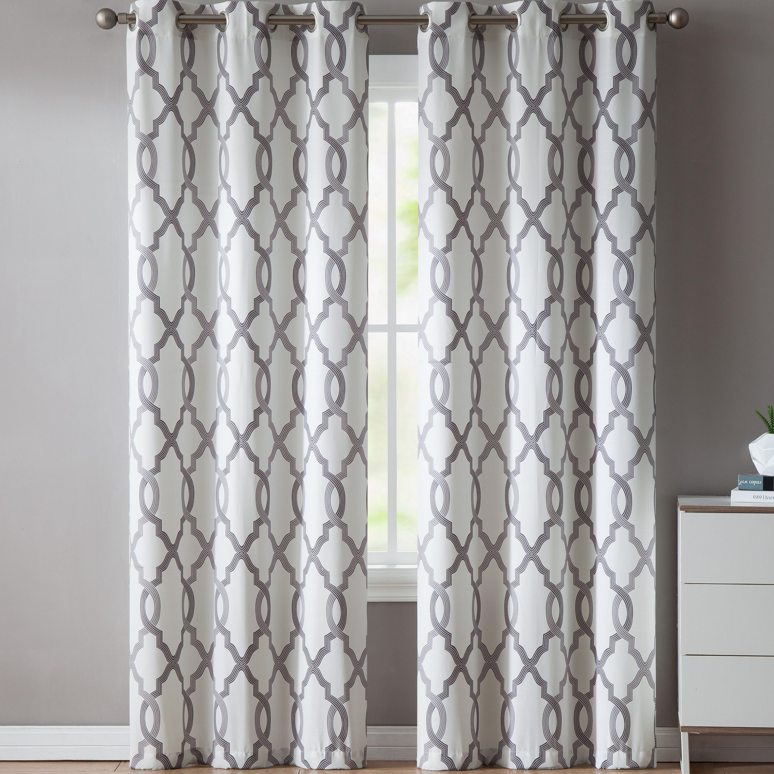 Torr Geometric Semi Sheer Grommet Curtain Panels Within Fashionable Fretwork Print Pattern Single Curtain Panels (View 16 of 20)
